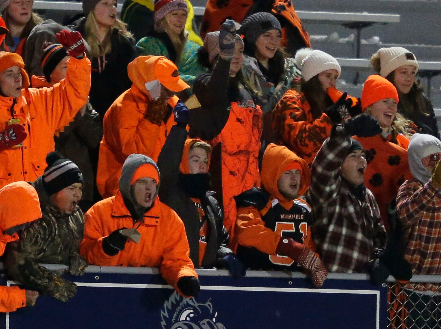 Marshfield fans cheer as the Tigers take on Homestead in a WIAA Division 2 state semifinal football game Friday, November 9, 2018, at Calder Stadium in Menasha, Wis.Ron Page/USA TODAY NETWORK-Wisconsin