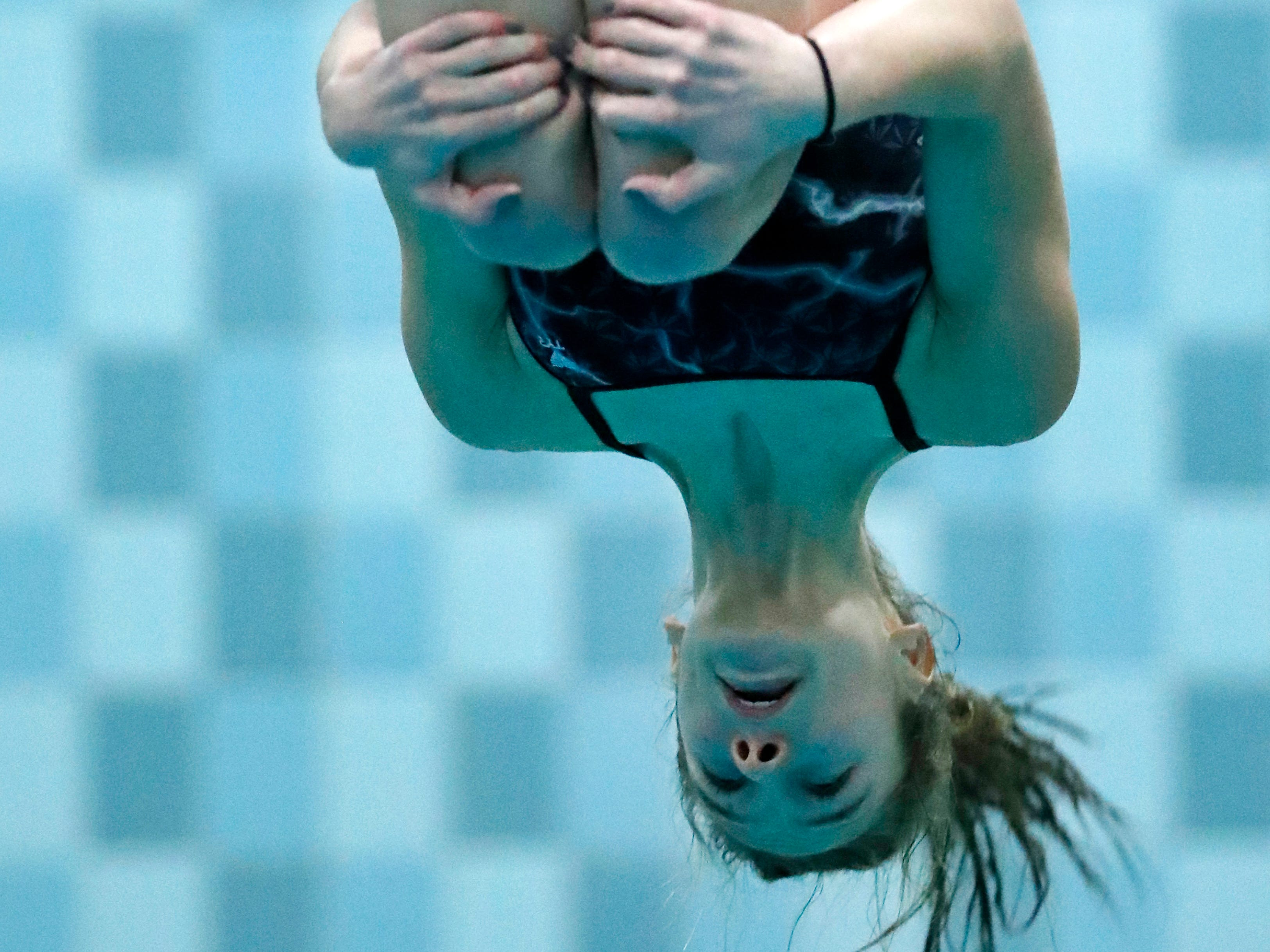 Plymouth's Danielle Tesky competes in the diving finals during WIAA Division 2 State Swimming and Diving Friday, Nov. 9, 2018, at the UW Natatorium in Madison, Wis.
