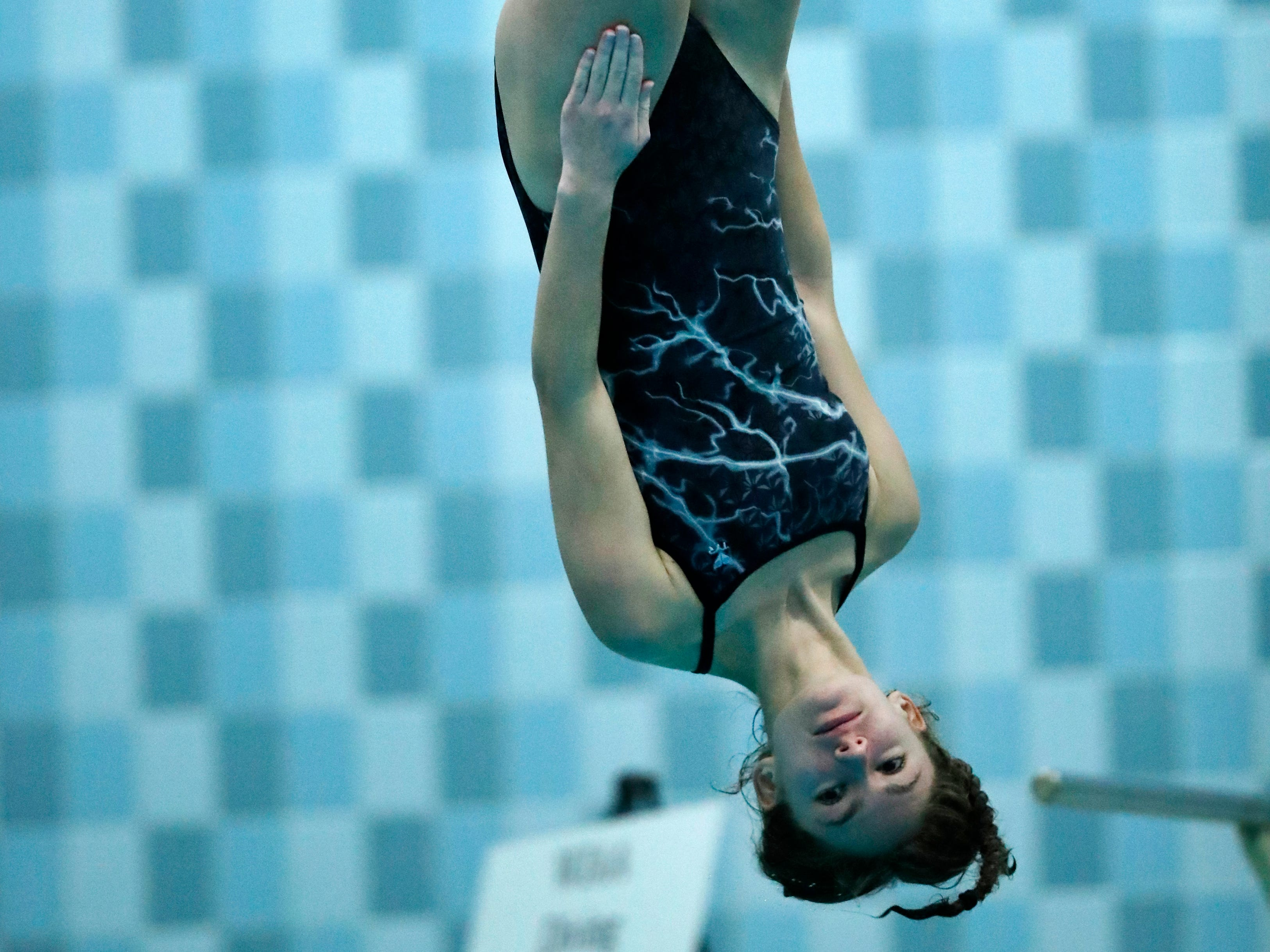 Plymouth's Miranda Rautmann competes in the diving finals during WIAA Division 2 State Swimming and Diving Friday, Nov. 9, 2018, at the UW Natatorium in Madison, Wis.