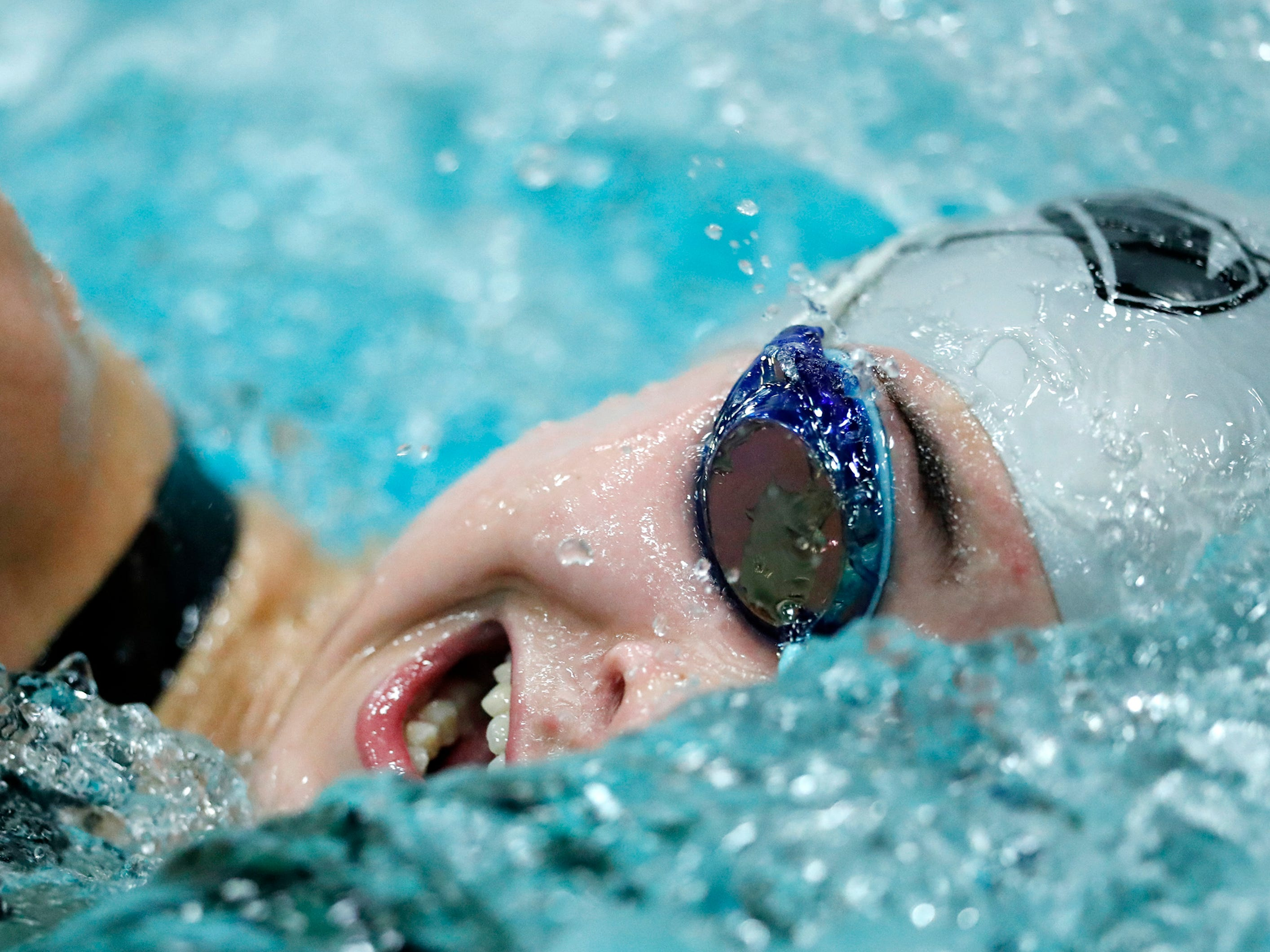 Merrill's Grace Schultz races in the 200 yard freestyle during the WIAA Division 2 State Swimming and Diving meet Friday, Nov. 9, 2018, at the UW Natatorium in Madison, Wis.