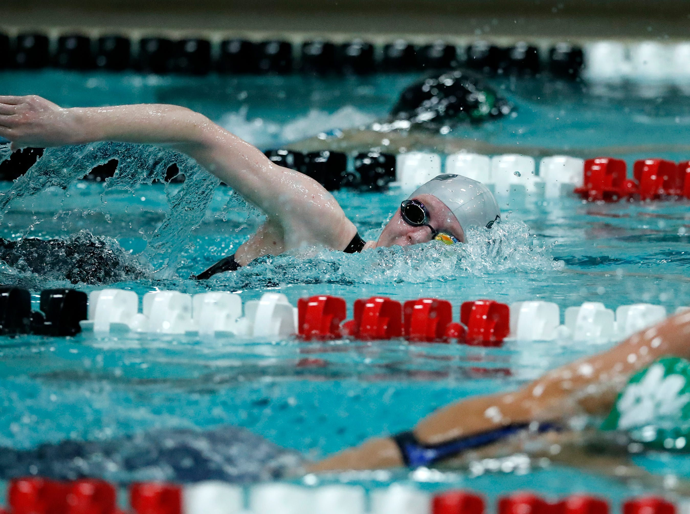 Merrill's Trinity Kanitz races in the 500 yard freestyle during the WIAA Division 2 State Swimming and Diving meet Friday, Nov. 9, 2018, at the UW Natatorium in Madison, Wis.Danny Damiani/USA TODAY NETWORK-Wisconsin