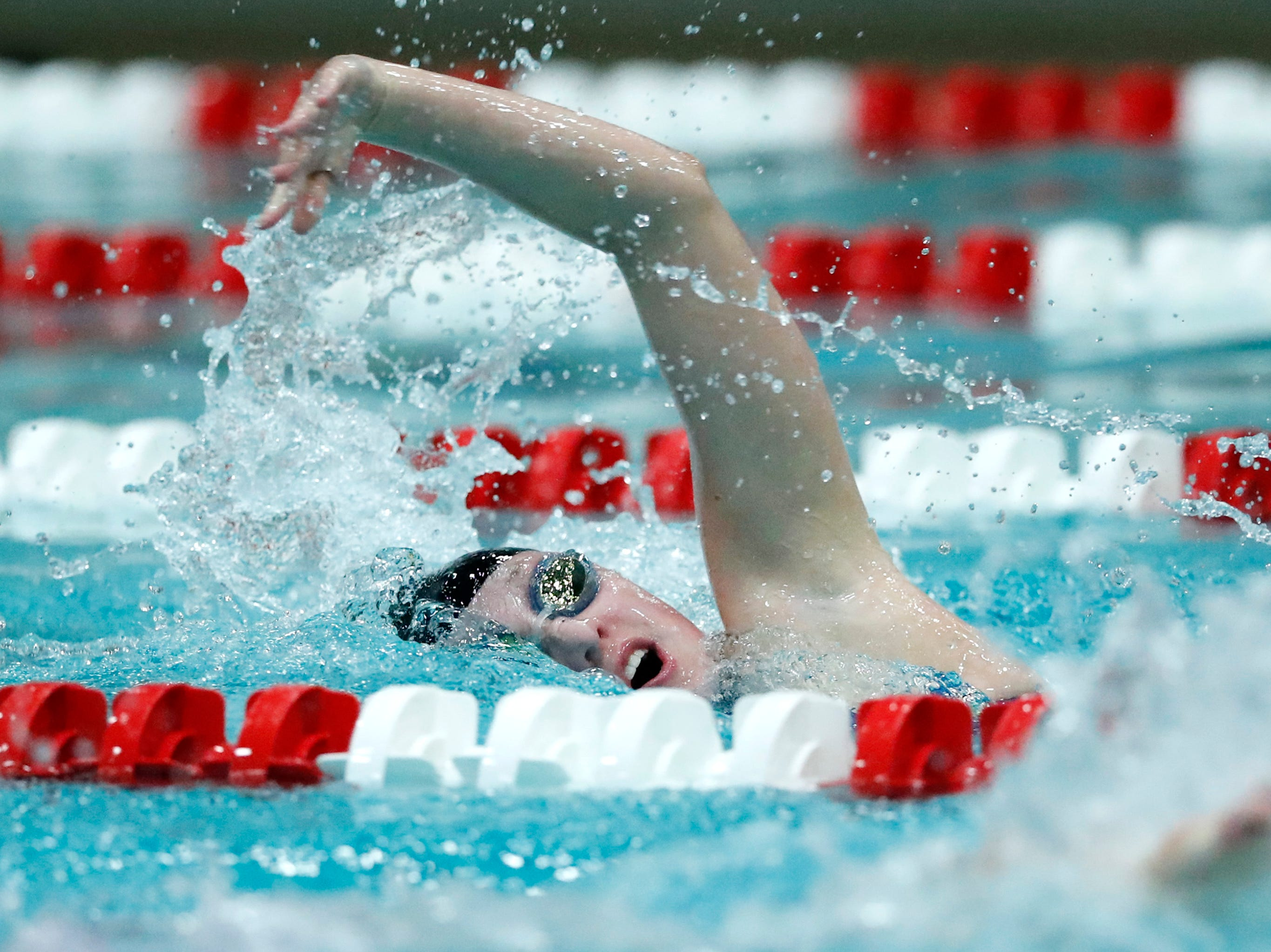 Ashwaubenon's Sydney Pop races in the 200 yard freestyle during the WIAA Division 2 State Swimming and Diving meet Friday, Nov. 9, 2018, at the UW Natatorium in Madison, Wis.