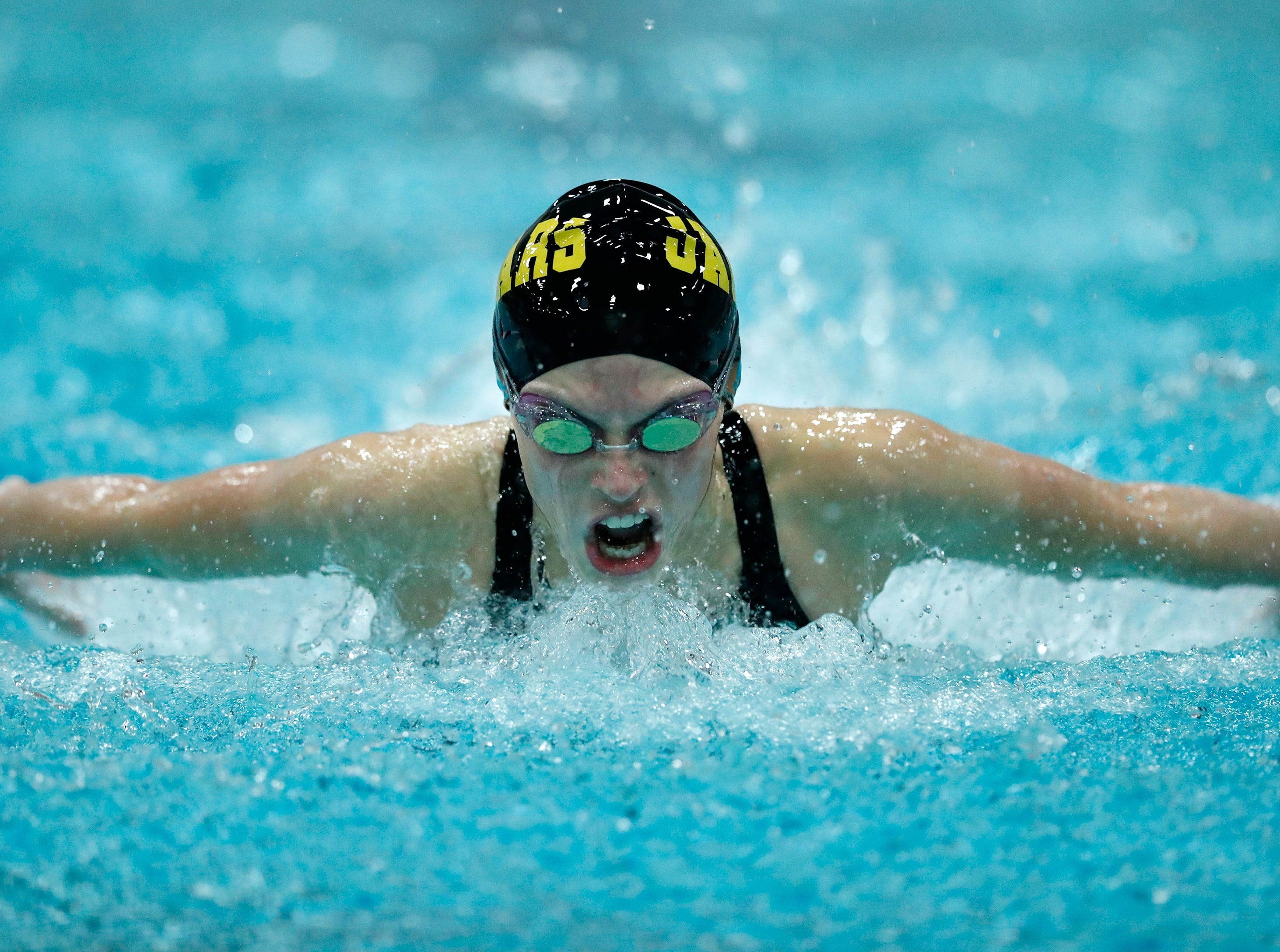 Ashwaubenon's Hallory Domnick races in the 100 yard butterfly during the WIAA Division 2 State Swimming and Diving meet Friday, Nov. 9, 2018, at the UW Natatorium in Madison, Wis.