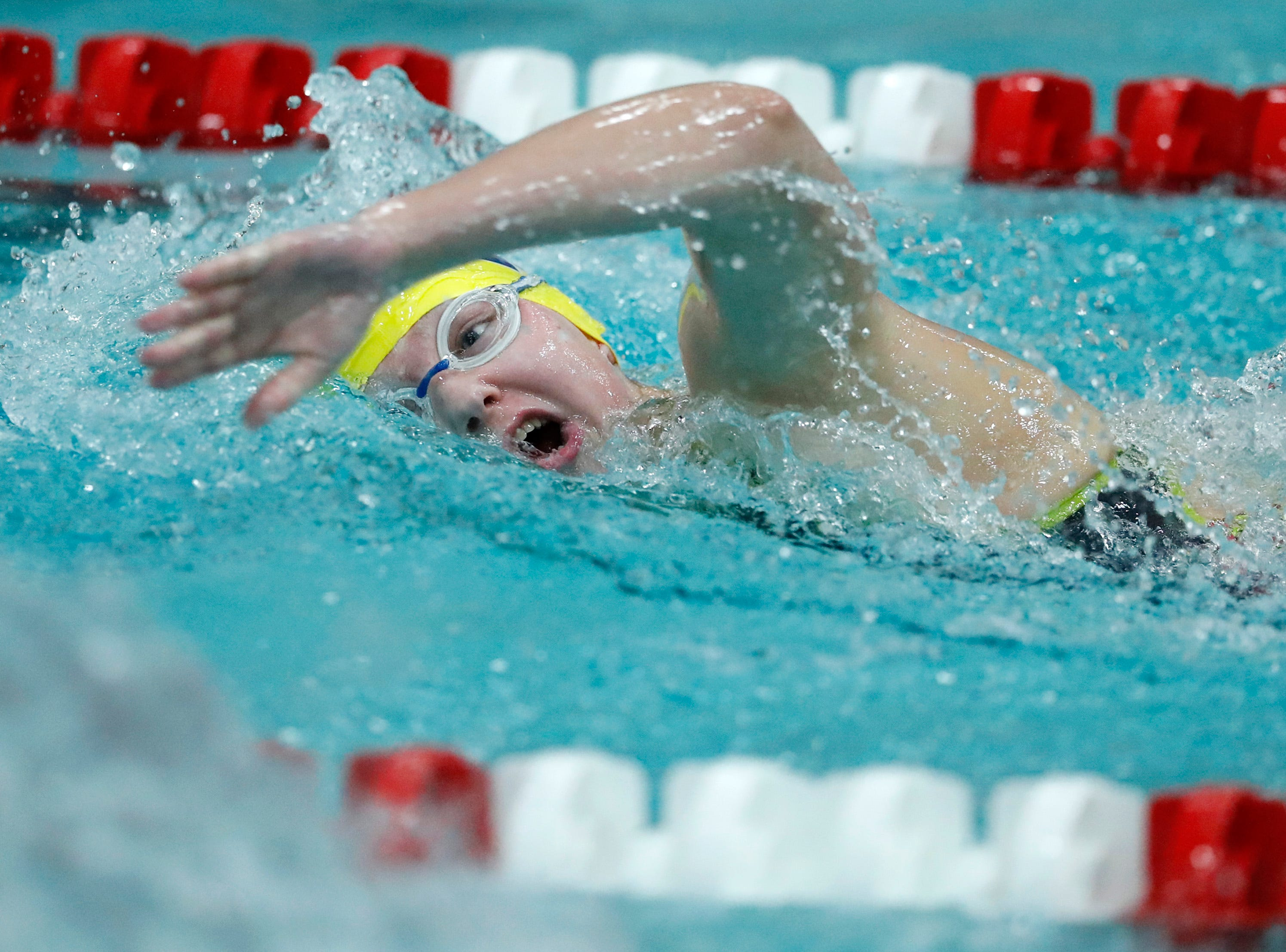 Tomahawk's Kylee Theiler races in the 500 yard freestyle during the WIAA Division 2 State Swimming and Diving meet Friday, Nov. 9, 2018, at the UW Natatorium in Madison, Wis.Danny Damiani/USA TODAY NETWORK-Wisconsin