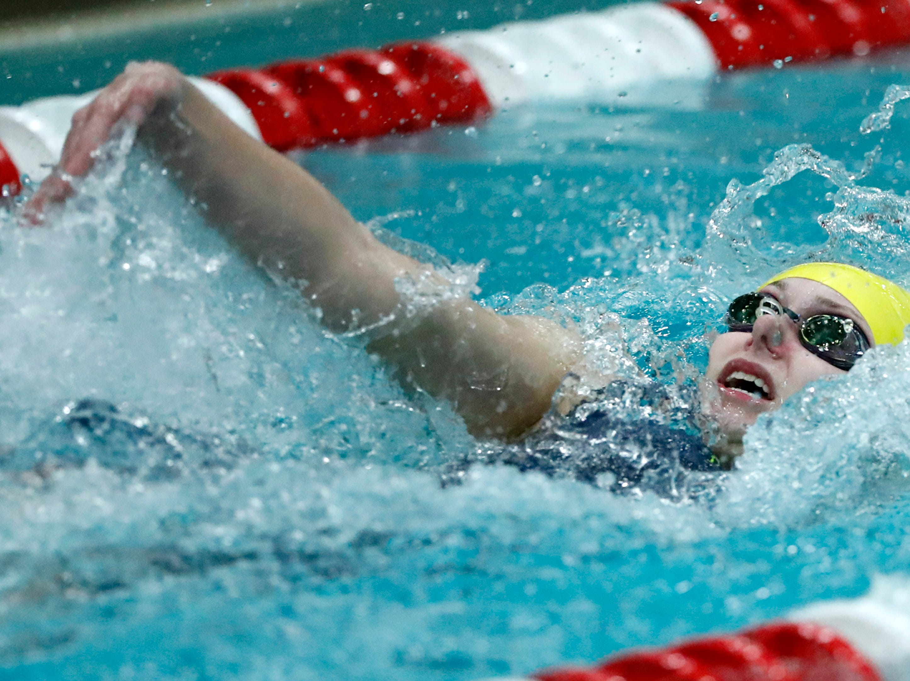 Tomahawk's Megan Marcks races in the 100 yard backstroke during the WIAA Division 2 State Swimming and Diving meet Friday, Nov. 9, 2018, at the UW Natatorium in Madison, Wis.Danny Damiani/USA TODAY NETWORK-Wisconsin