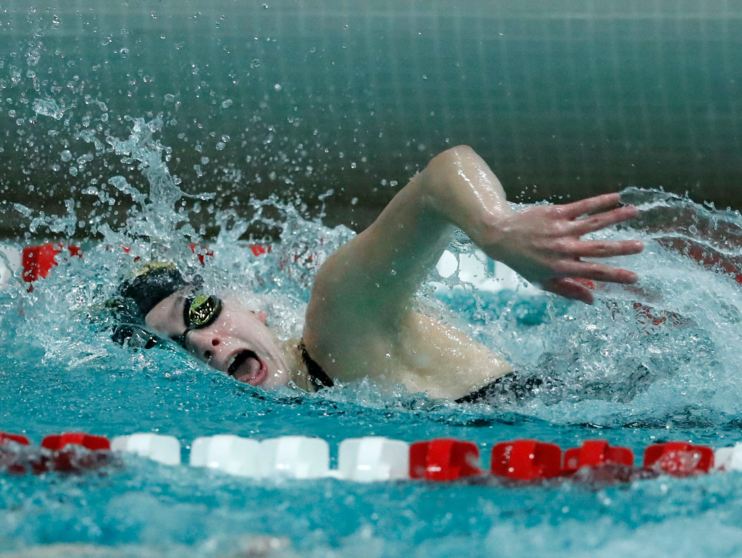 The Ashwaubenon 400 yard freestyle relay team races during the WIAA Division 2 State Swimming and Diving meet Friday, Nov. 9, 2018, at the UW Natatorium in Madison, Wis.Danny Damiani/USA TODAY NETWORK-Wisconsin