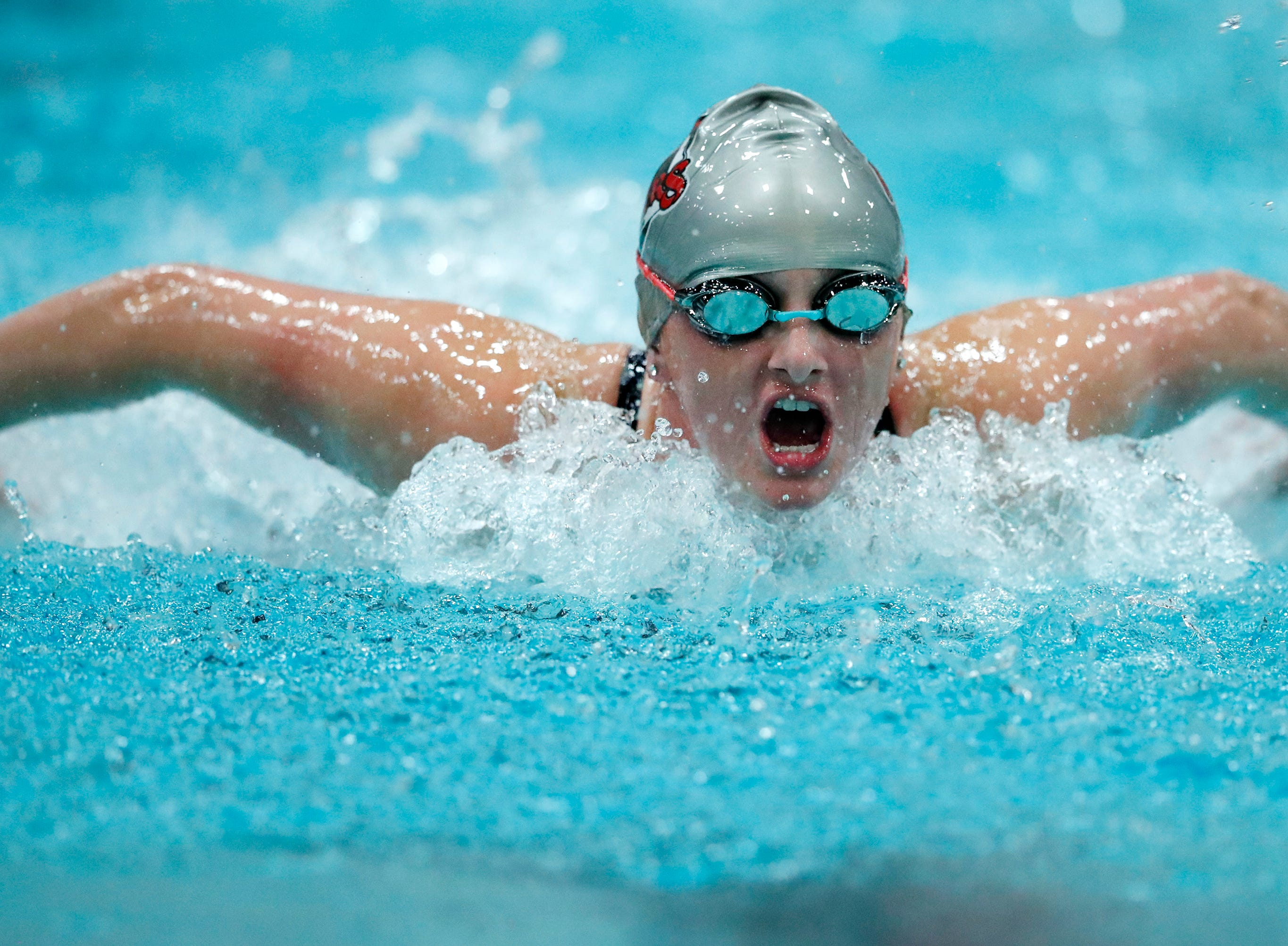 Medford's Aubrey Buskerud races in the 200 yard individual medley during the WIAA Division 2 State Swimming and Diving meet Friday, Nov. 9, 2018, at the UW Natatorium in Madison, Wis.Danny Damiani/USA TODAY NETWORK-Wisconsin