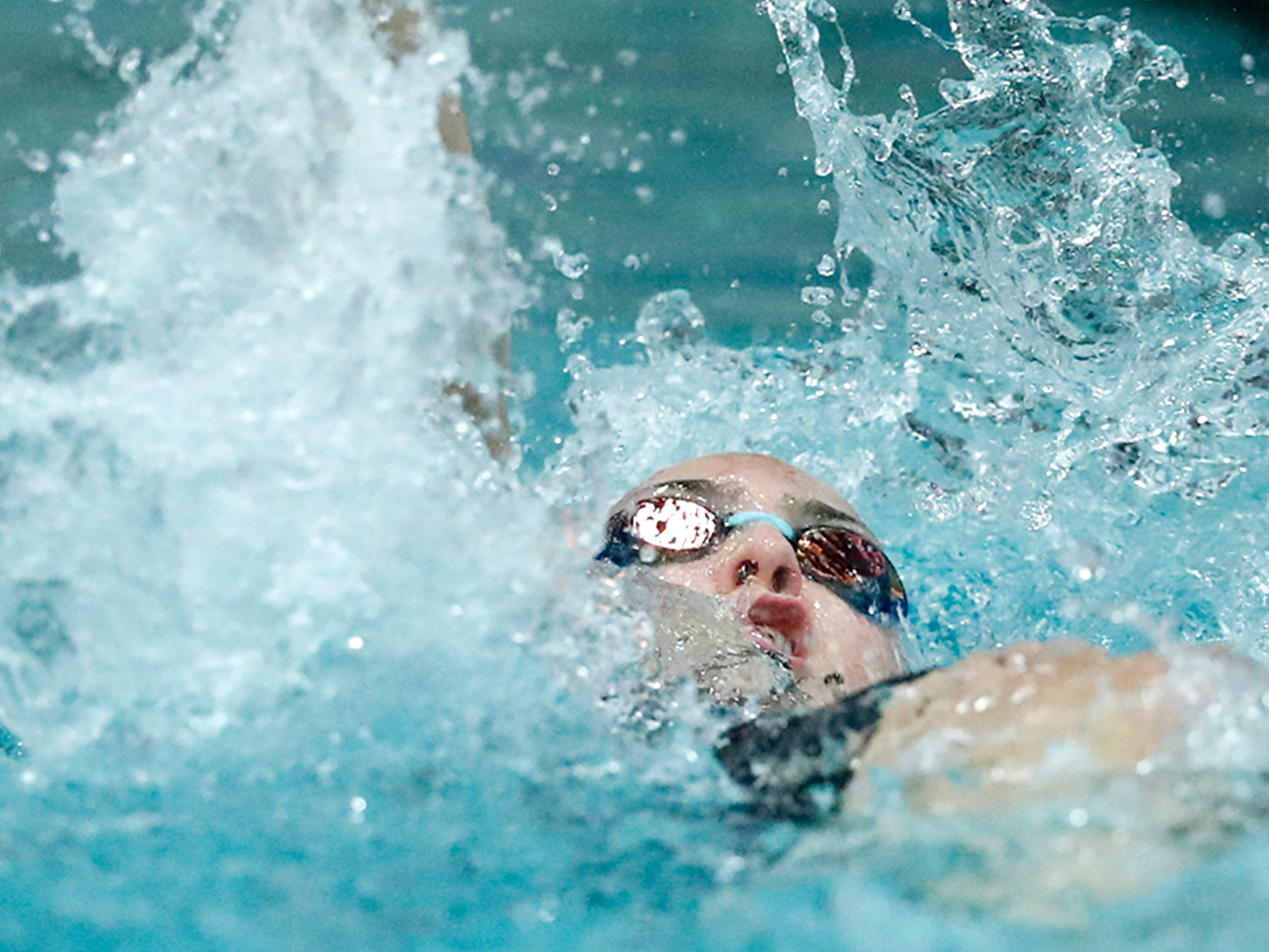 Kohler Co-op's 200 yard medley relay team races during WIAA Division 2 State Swimming and Diving Friday, Nov. 9, 2018, at the UW Natatorium in Madison, Wis.
