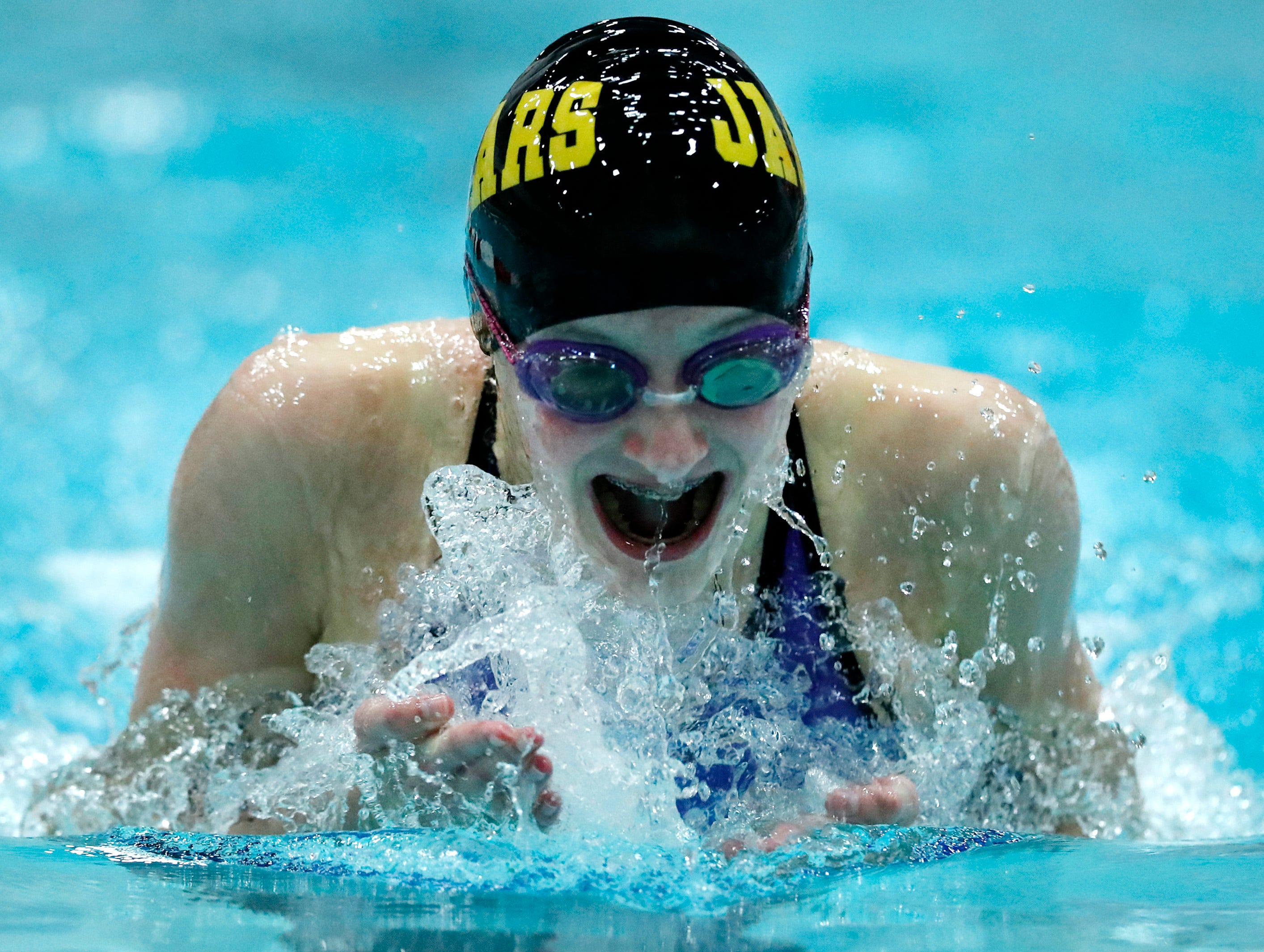 Aushwaubenon's Jocelyn McNicoll races in the 100 yard breaststroke during the WIAA Division 2 State Swimming and Diving meet Friday, Nov. 9, 2018, at the UW Natatorium in Madison, Wis.Danny Damiani/USA TODAY NETWORK-Wisconsin