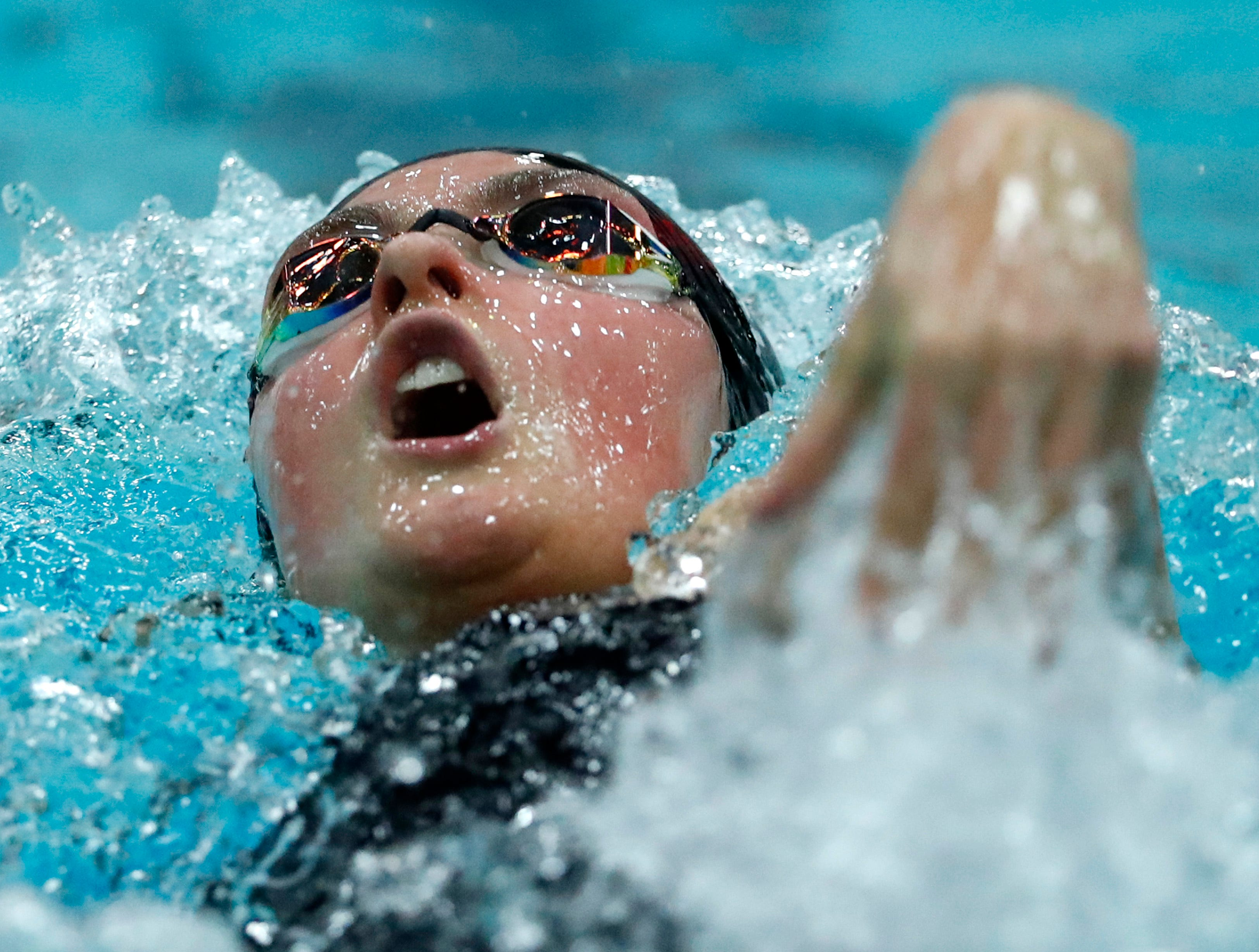 Wausau East's Emma Clifford races in the 100 yard backstroke during the WIAA Division 2 State Swimming and Diving meet Friday, Nov. 9, 2018, at the UW Natatorium in Madison, Wis.Danny Damiani/USA TODAY NETWORK-Wisconsin