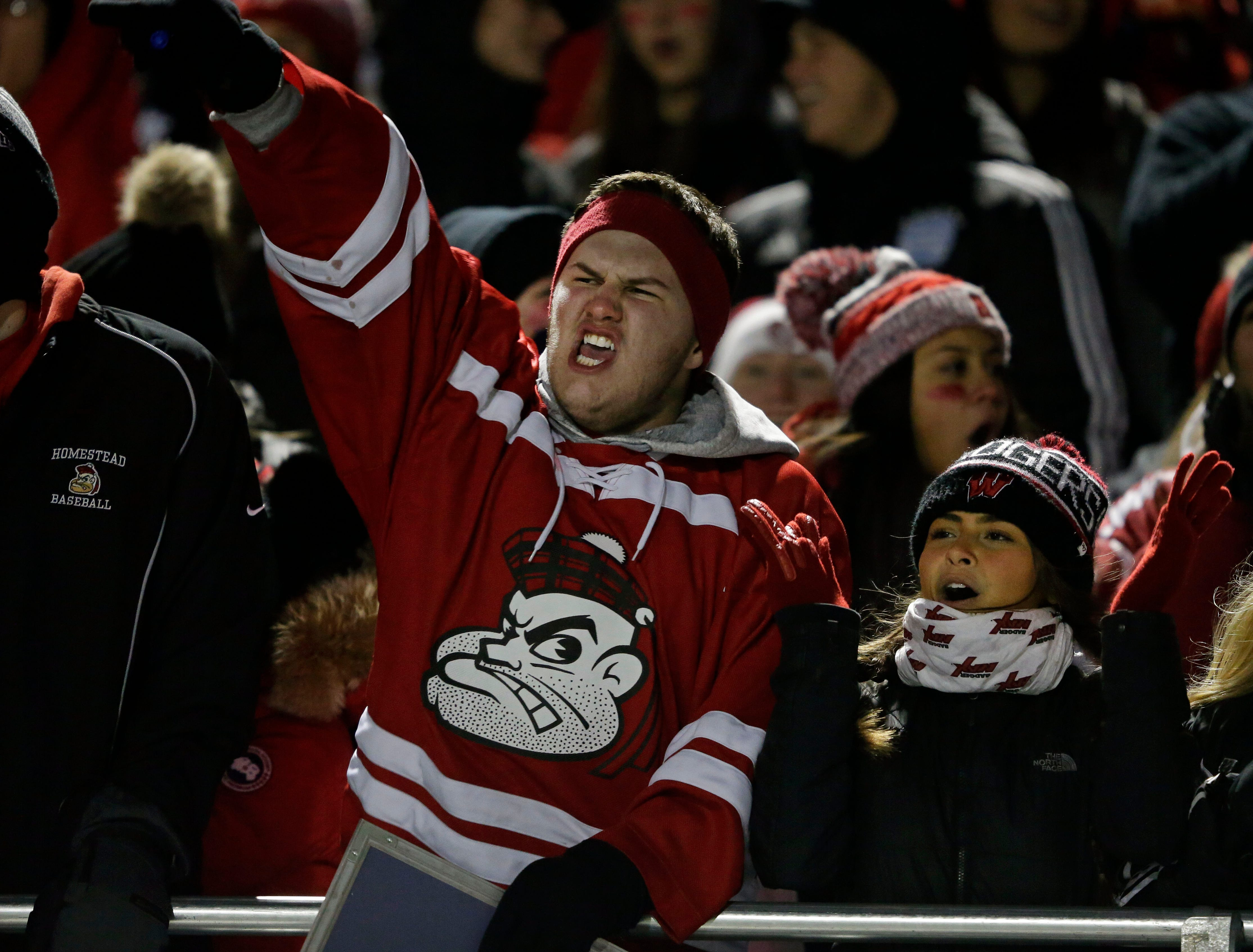 Homestead fans cheer as their team takes on Marshfield in a WIAA Division 2 state semifinal football game Friday, November 9, 2018, at Calder Stadium in Menasha, Wis.Ron Page/USA TODAY NETWORK-Wisconsin