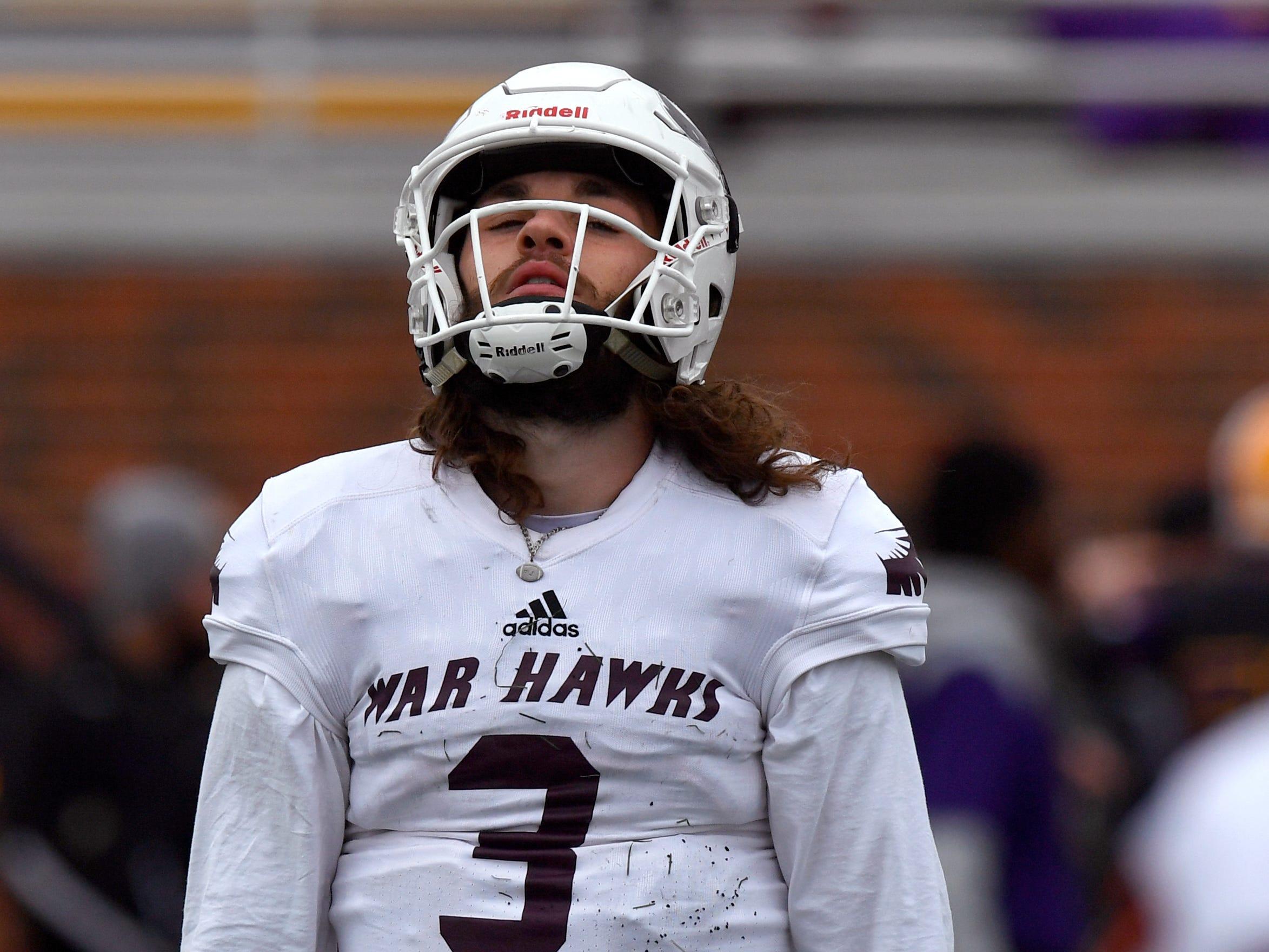 War Hawks quarterback Kevin Hurley, jr. expresses his frustration as McMurry University came up short against the Cowboys defense Saturday Nov. 10, 2018. Final score was 83-6, Hardin-Simmons University.
