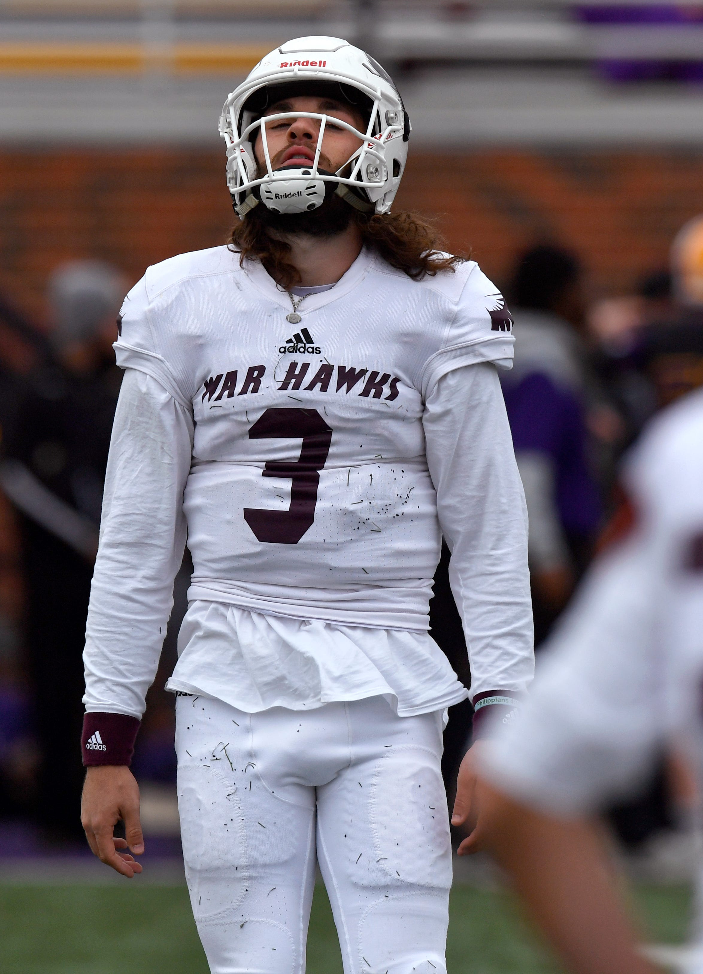 War Hawks quarterback Kevin Hurley Jr. expresses his frustration as McMurry University came up short against the Cowboys defense Saturday at Shelton Stadium. Hurley threw for his team's only touchdown, in the second quarter.