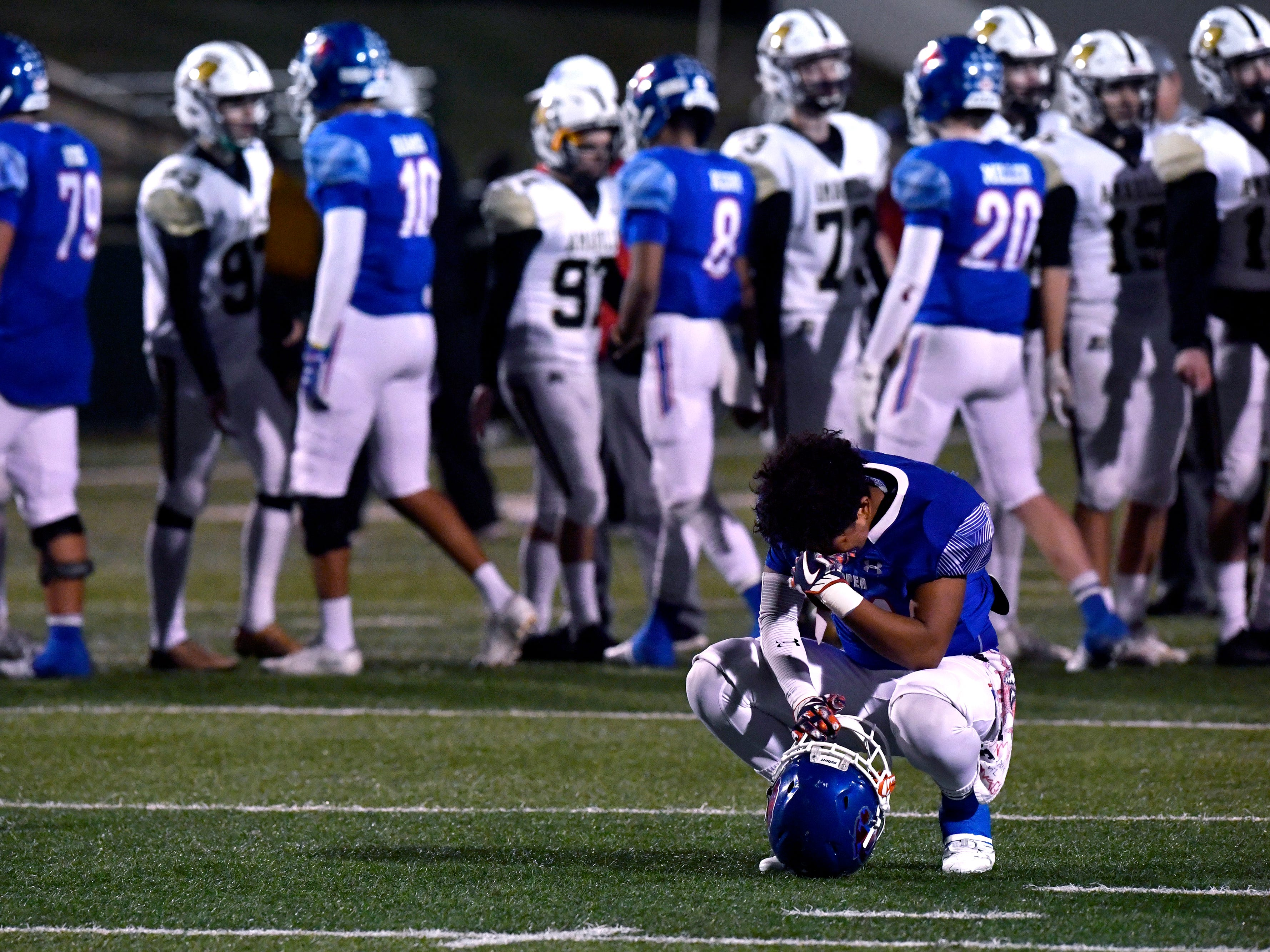 Cooper High's Jalen Trevino-McKoy reflects on the Cougars loss to the Sandies after Friday's game Nov. 9, 2018. Final score was 58-27, Amarillo.