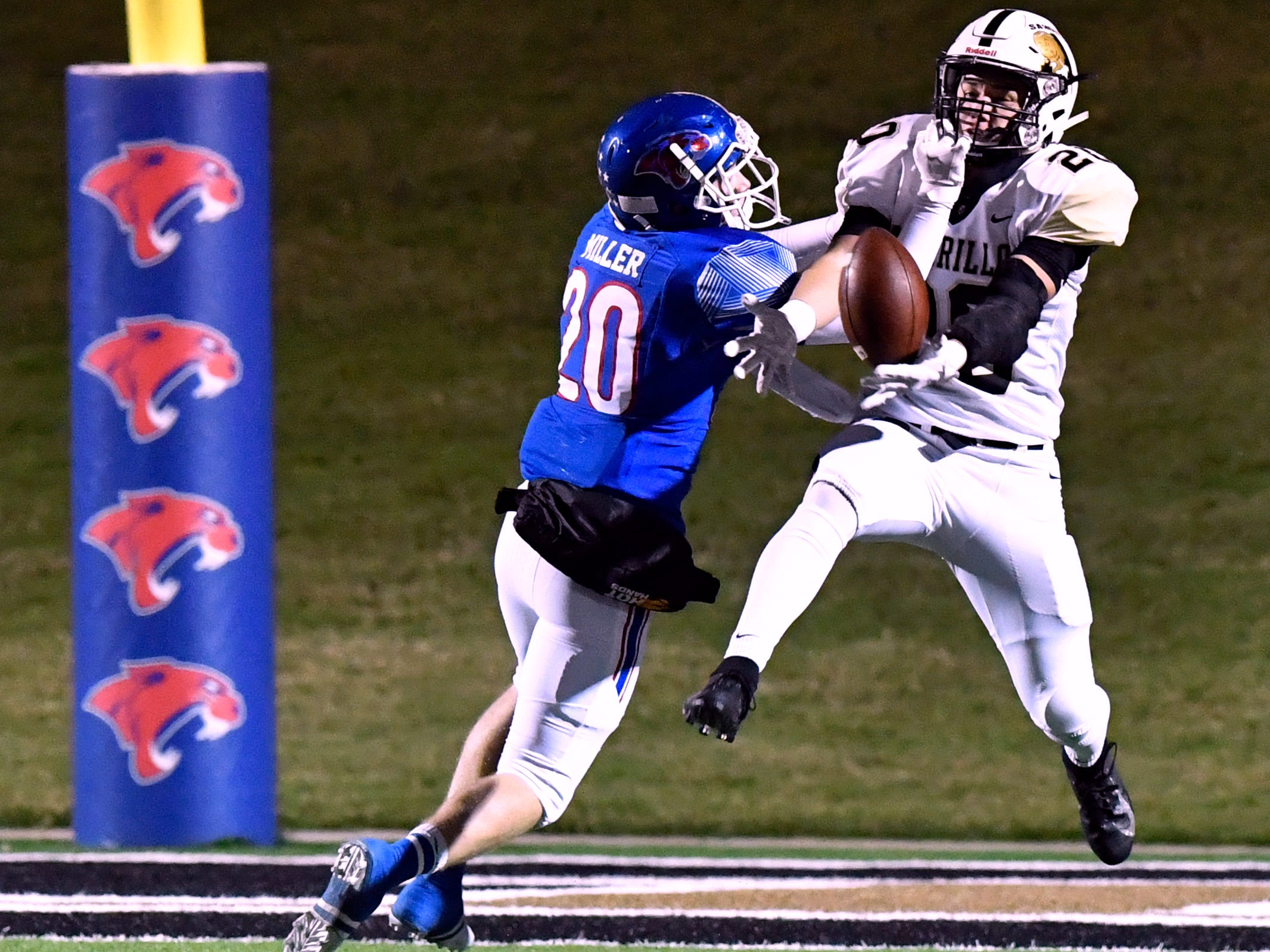 Cooper High linebacker Brady Miller breaks up the pass intended for Amarillo High's Maycin Smotherman during Friday's game at Shotwell Stadium Nov. 9, 2018. Final score was 58-27, Amarillo.