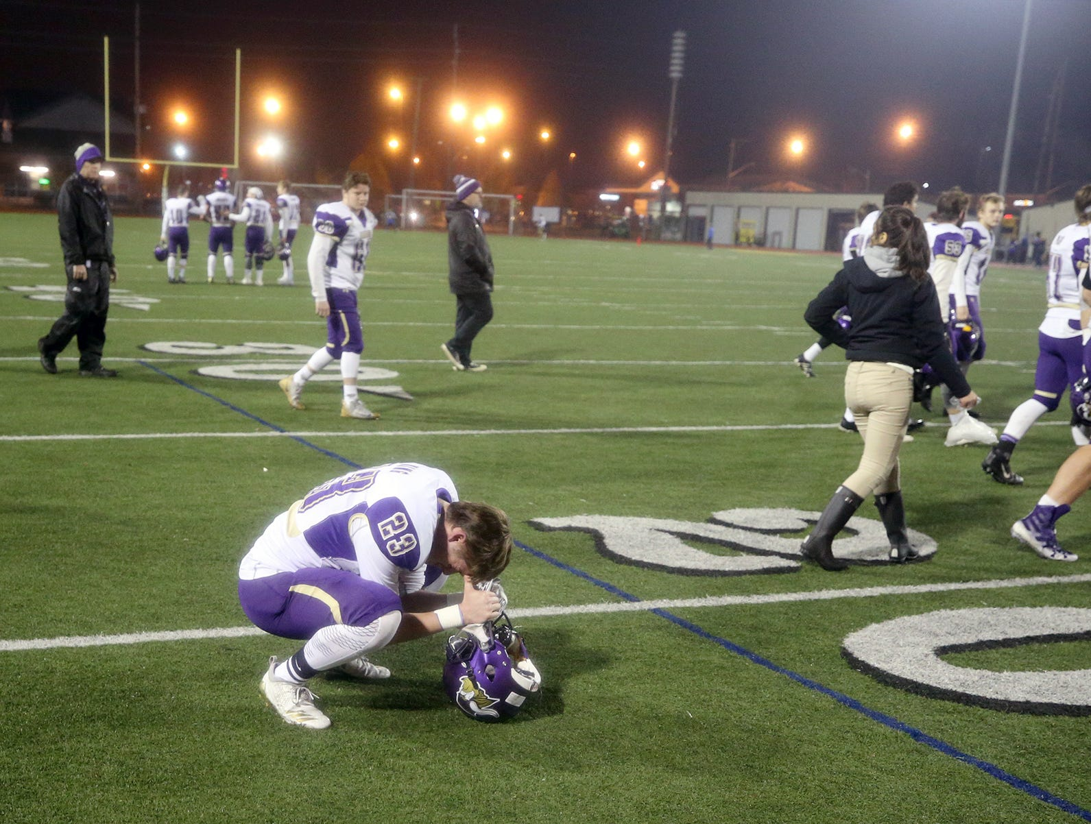 North Kitsap Football player Connor King displays his disappointment after a 2A playoff loss to Fife 24-21-at Sunset Chevrolet Stadium in Sumner on Friday, November 9, 2018.