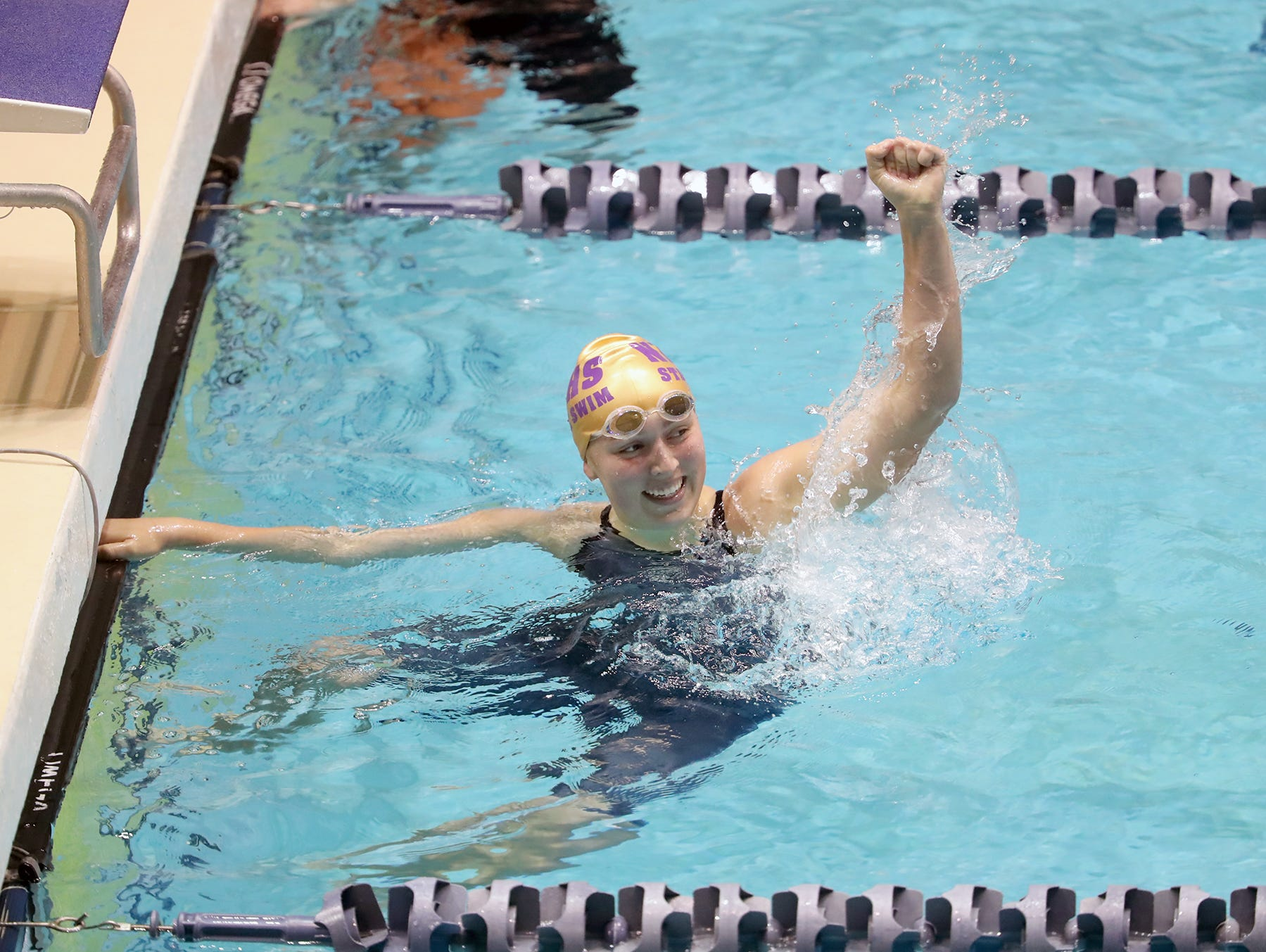 The North Kitsap Girls swim team won the team title at the 2018 2A Girls State Swim & Diving Championships on Saturday, November, 10, 2018 at the King County Aquatics Center, in Federal Way. North swimmer Brianna Hoffman, celebrates after winning the 200 yard freestyle event.