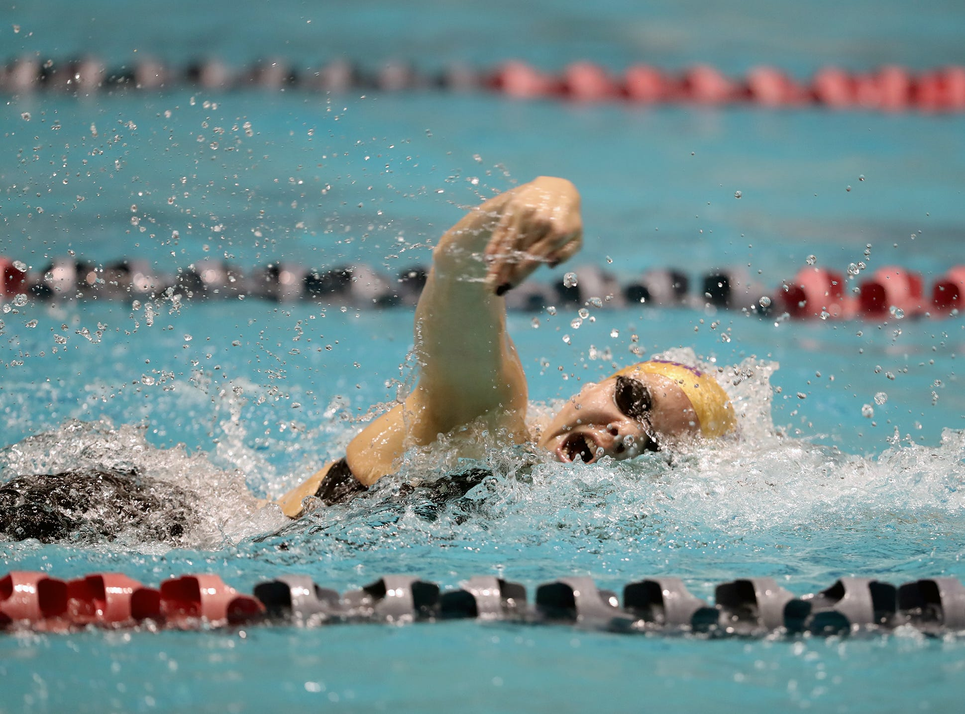 The North Kitsap Girls swim team won the team title at the 2018 2A Girls State Swim & Diving Championships on Saturday, November, 10 , 2018 at the King County Aquatics Center, in Federal Way. North Kitsap swimmer Eleanor Beers sets a meet record in the 100 yard freestyle.