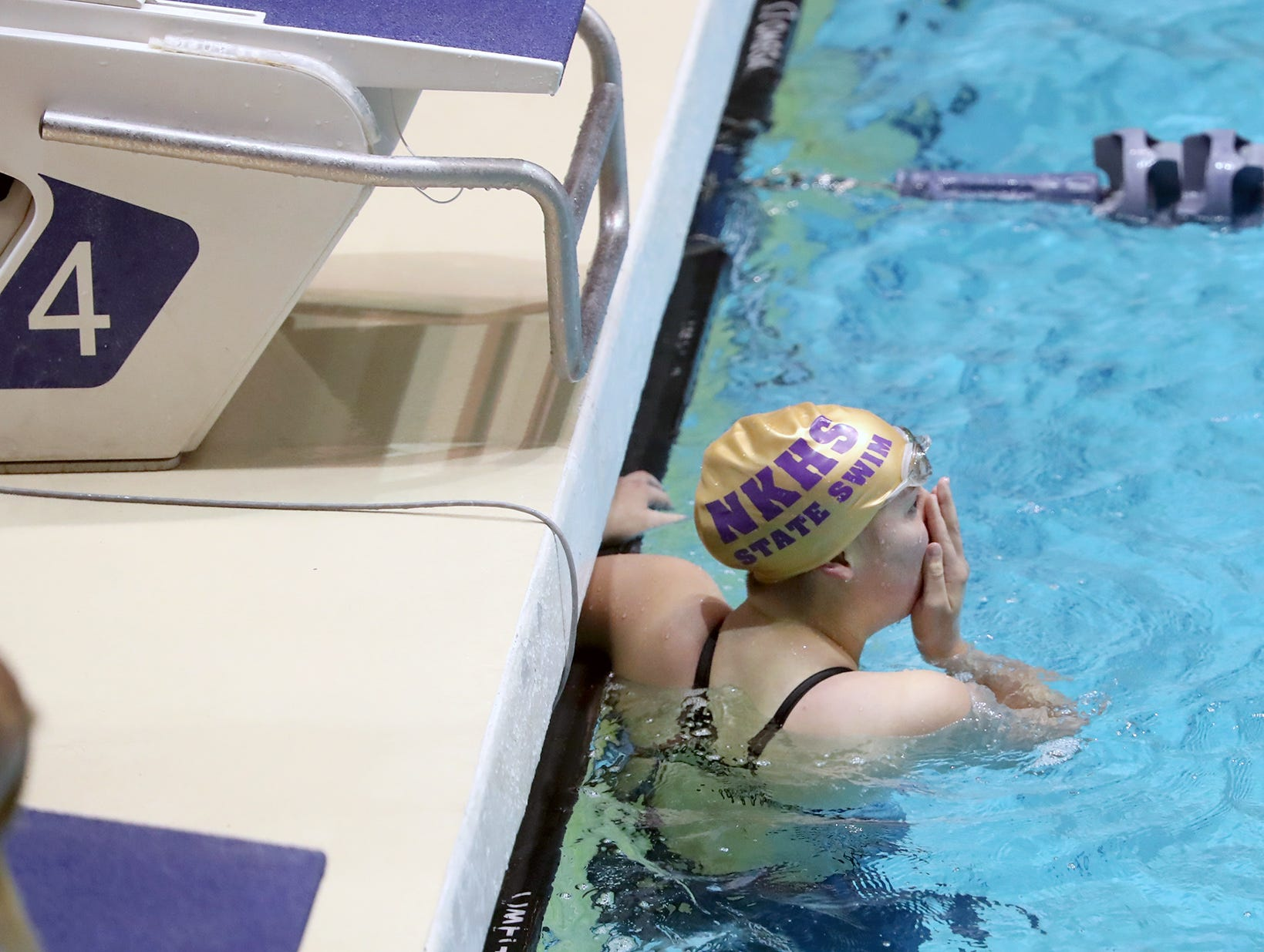 The North Kitsap Girls swim team won the team title at the 2018 2A Girls State Swim & Diving Championships on Saturday, November, 10, 2018 at the King County Aquatics Center, in Federal Way. North swimmer Brianna Hoffman, is shocked after winning the 200 yard freestyle event.