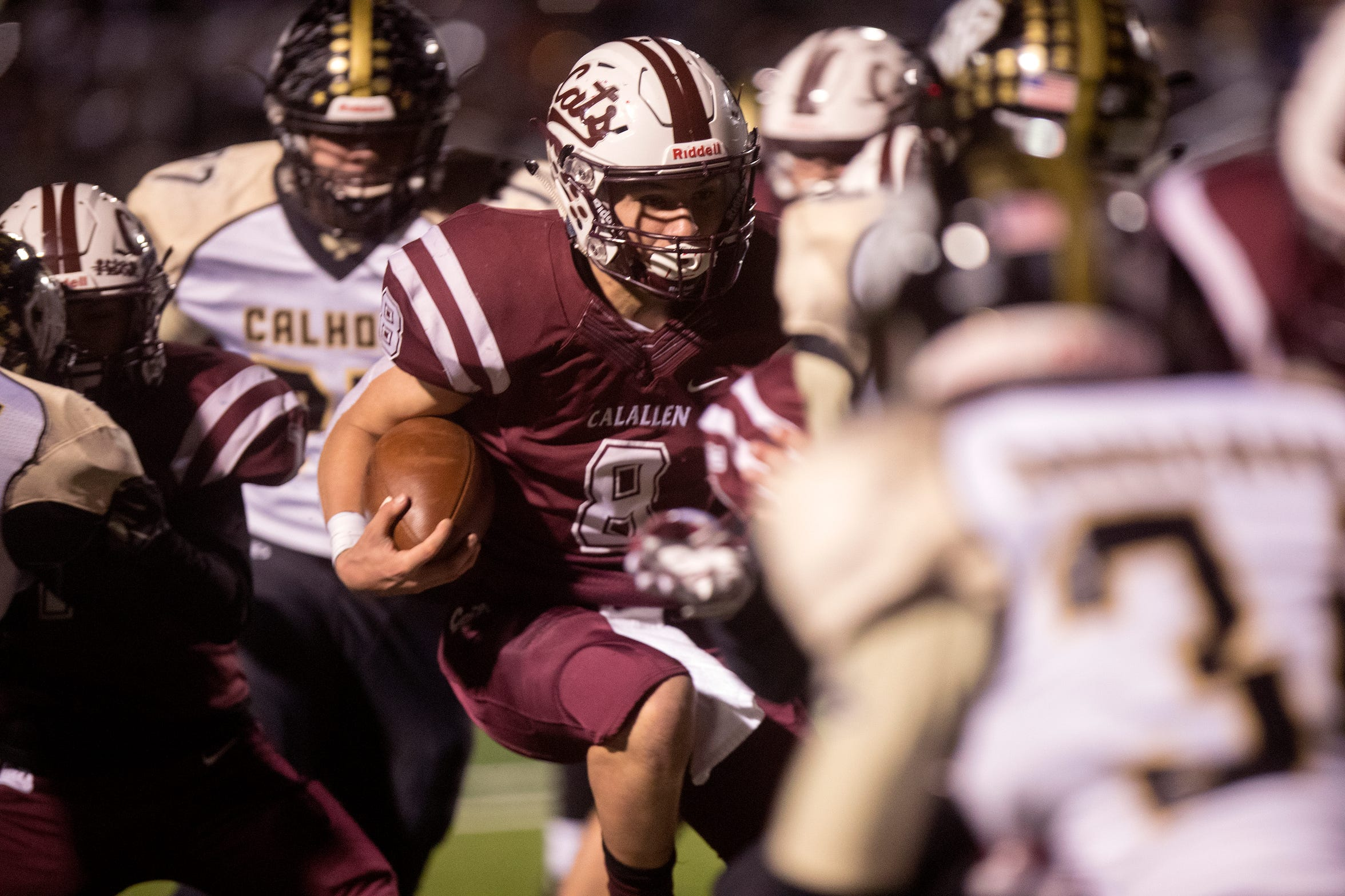 Calallen Wildcat quarterback Jarrett Garza carries the ball in the first quarter of the 15-5A Division II game against Port Lavaca Calhoun on Friday, November 9, 2018 at Phil Danaher Field at Wildcat Stadium. Calallen won the game 23-20 to win the district championship.