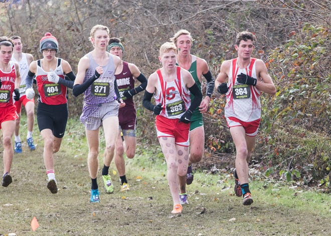 Lexington's Kyle Johnston, left; Shelby's Caleb Brown, center; and Sam Logan, right, compete at the 2018 OHSAA Cross-Country State Tournament on Saturday at National Trail Raceway in Hebron.