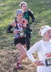 Zane Trace's Hannah Kerr (904) finished 68 out of 179 runners with a total time of 21:05 at the 2018 OHSAA Cross-Country State Tournament on Saturday, November 10, 2018, at National Trail Raceway in Hebron, Ohio.