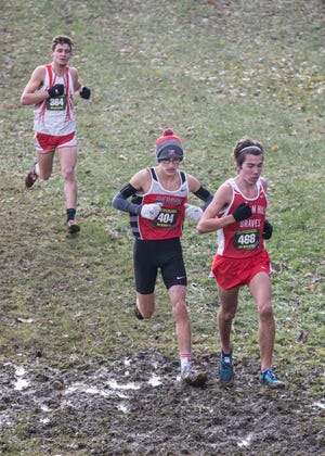 Sheridan's William Wilke competes in Saturday's Division II race of the 2018 OHSAA Cross Country State Meet at National Trail Raceway.
