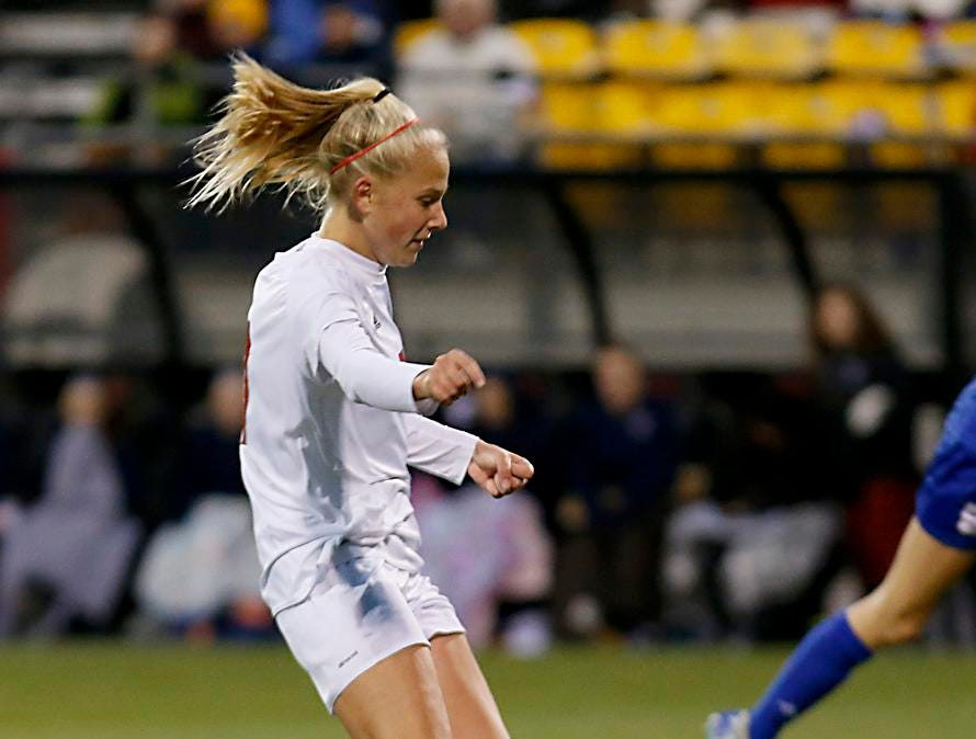 Indian Hill midfielder Ashleigh Prugh takes the ball down field against Bay Village Bay during their Division II Championship soccer game at MAPFRE Stadium in Columbus Friday, Nov. 9, 2018.