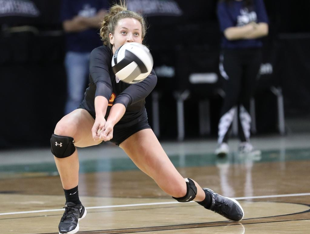 Bishop Fenwick  player Emma Schaefer  during their state semi-final game against Holy Name, Friday, Nov. 9, 2018.