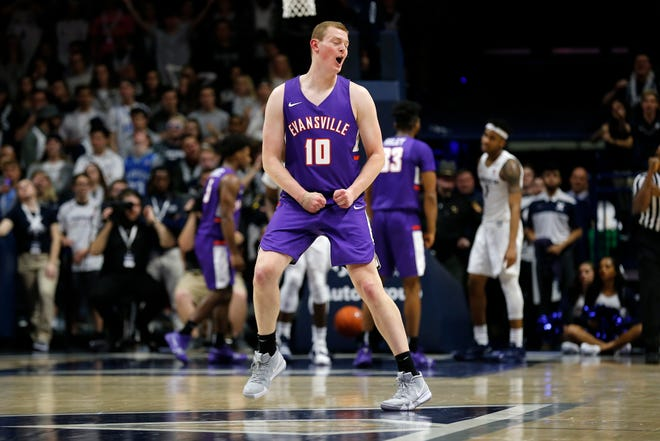 Evansville Aces forward Evan Kuhlman (10) as the Aces score in the second half of the NCAA basketball game between the Xavier Musketeers and the Evansville Aces at the Cintas Center in Cincinnati on Saturday, Nov. 10, 2018. Xavier improved to 2-0 on the season with a 91-85 win.