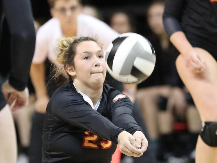 Bishop Fenwick player Brooklyn Brunner  during the Falcons  state semi-final game against Holy Name, Friday, Nov. 9, 2018.