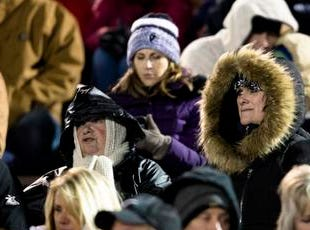 Elder fans look on during the second round Division I playoff football game between Elder and Lakota East on Friday, Nov. 9, 2018 in Mason.