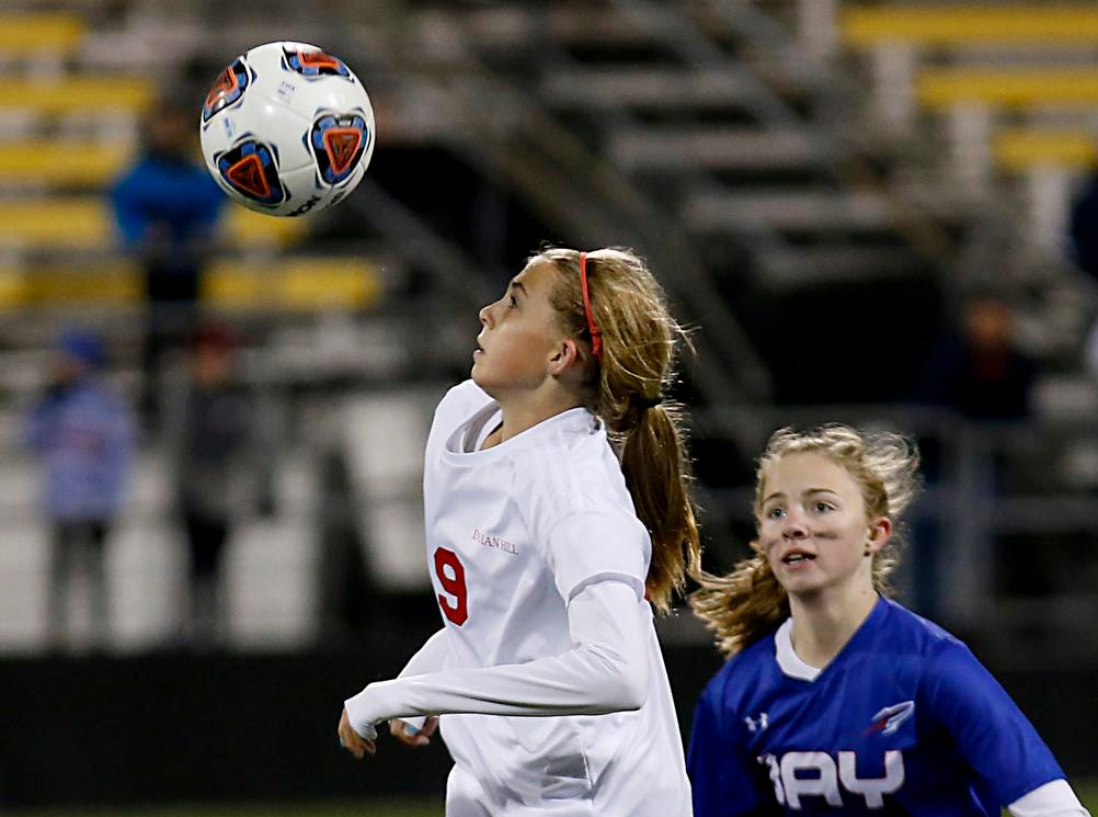 Indian Hill defender Meghan O'Brien heads the ball away from Bay Village Bay defender Caroline Fowles during their Division II Championship soccer game at MAPFRE Stadium in Columbus Friday, Nov. 9, 2018.