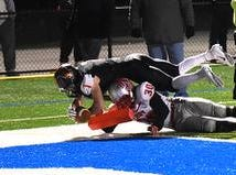 Joey Newton (1) hit the orange goal marker and scores the winning touchdown as Anderson tops Troy 38-35 in the OHSAA Division II Semifinal, November 9, 2018.