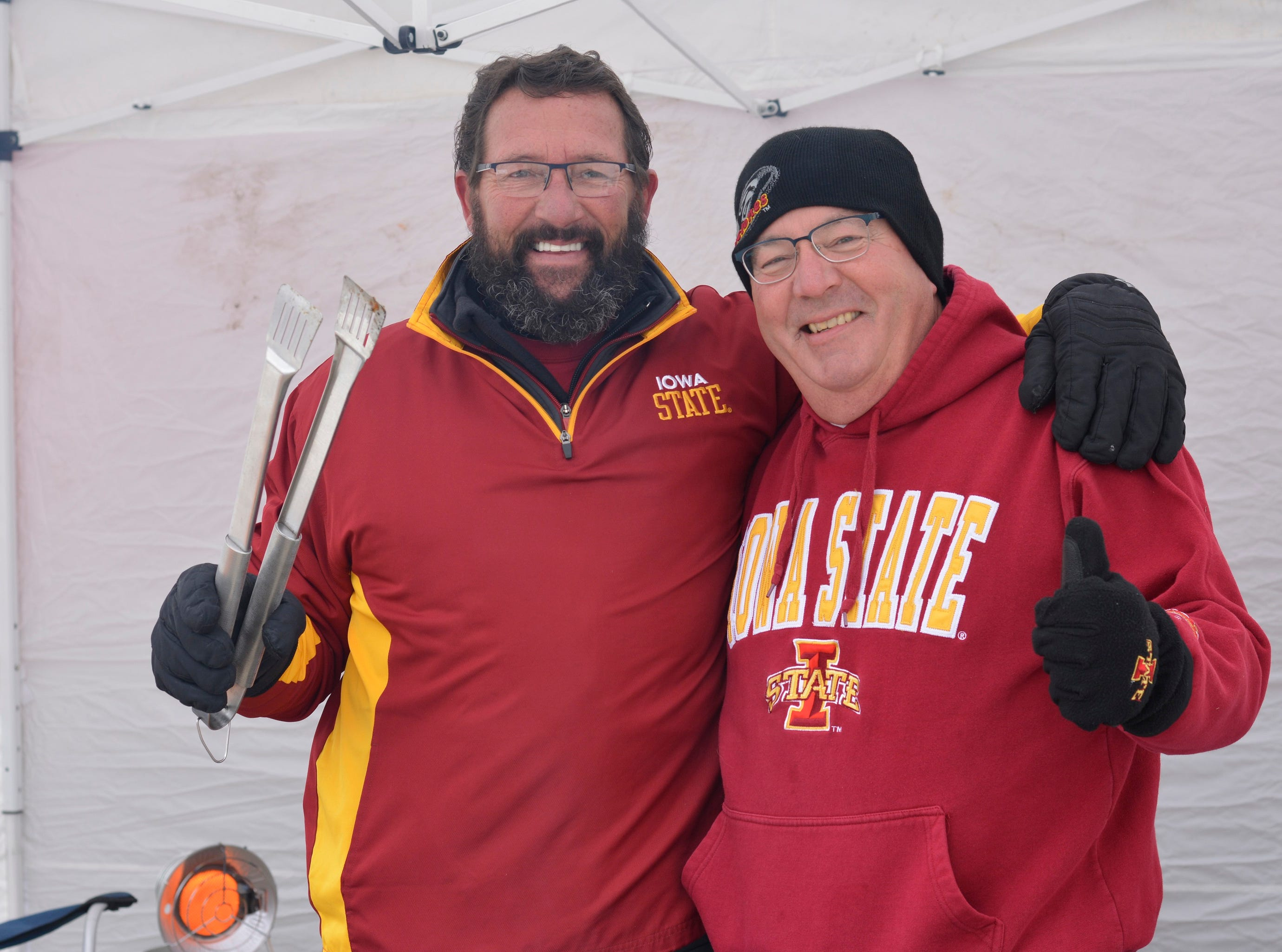 Frank Jennings (left) and Dannie Ackerman before the Iowa State University football game against Baylor in Ames on Nov. 10.