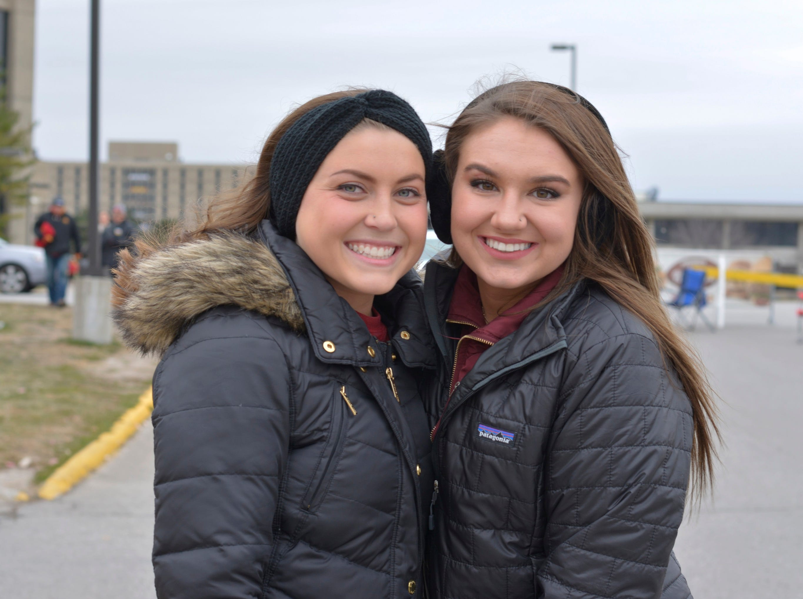 Nicole Rupprecht (left) and Aubree Sanders (right) before the Iowa State University football game against Baylor in Ames on Nov. 10.