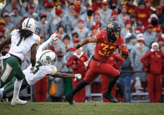 Iowa State running back David Montgomery runs the ball against Baylor at Jack Trice Stadium in Ames on Saturday, Nov. 10, 2018.