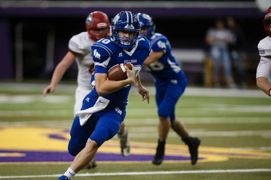 Van Meter's Anthony Potthoff (10) rushes during their 1A state football semi-final game on Saturday, Nov. 10, 2018, in Cedar Falls. West Sioux takes a 24-21 lead over Van Meter into half-time.