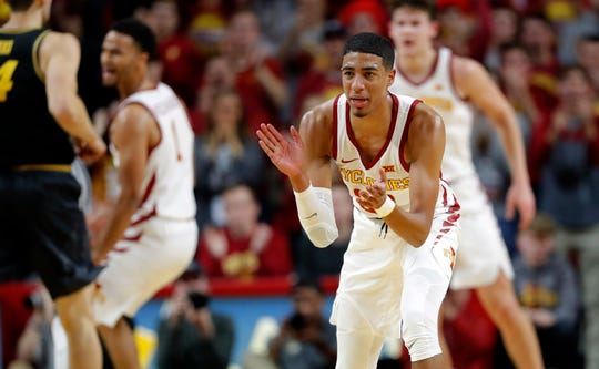 Iowa State guard Tyrese Haliburton reacts after making a 3-point basket during the first half of an NCAA college basketball game against Missouri, Friday, Nov. 9, 2018, in Ames, Iowa.
