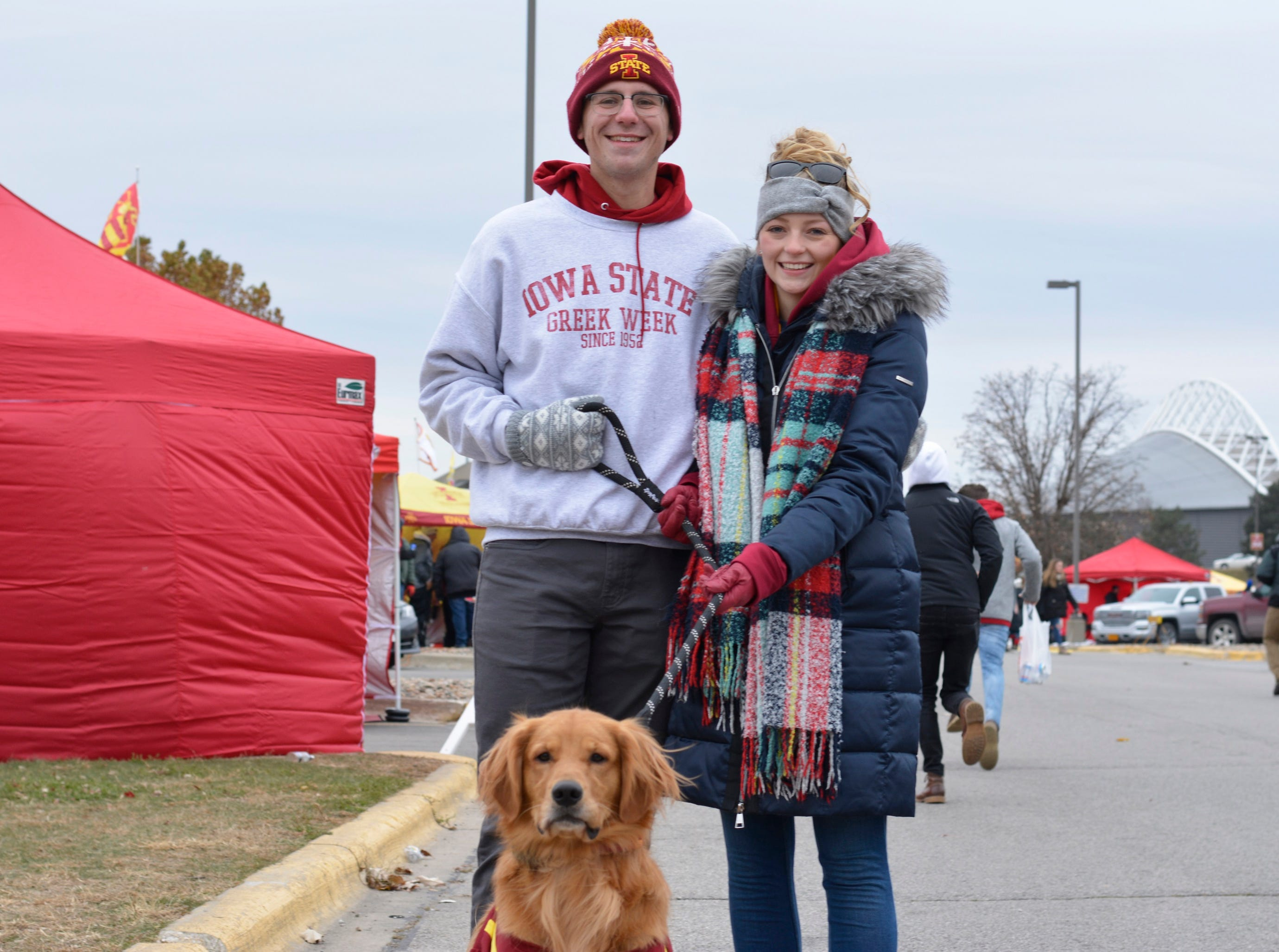 Bryson Kramer and Riley Noble before the Iowa State University football game against Baylor in Ames on Nov. 10.