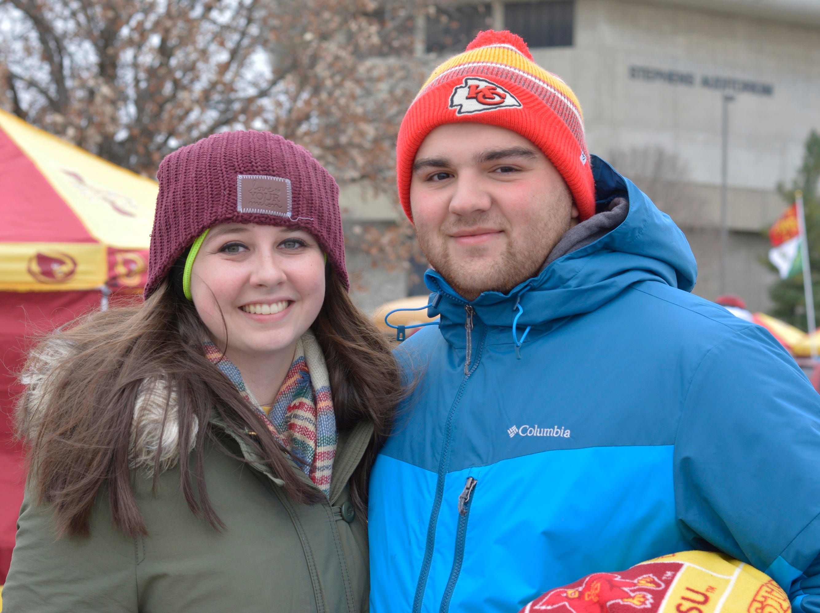 Riley Schwienebart and Nathan Leon before the Iowa State University football game against Baylor in Ames on Nov. 10.