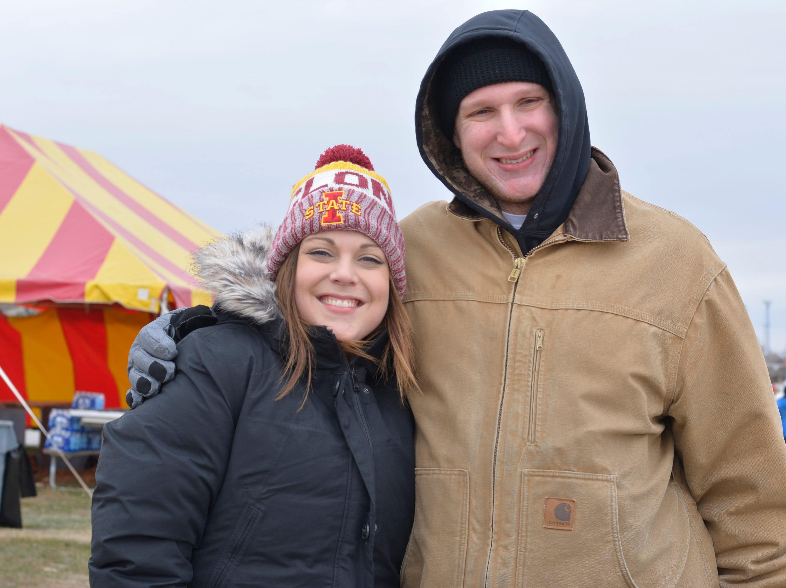 Carlee Sabus and Matthew Hanselman before the Iowa State University football game against Baylor in Ames on Nov. 10.