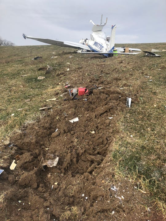 A single-engine plane crashed in rural Guthrie County on Friday, claiming four lives.