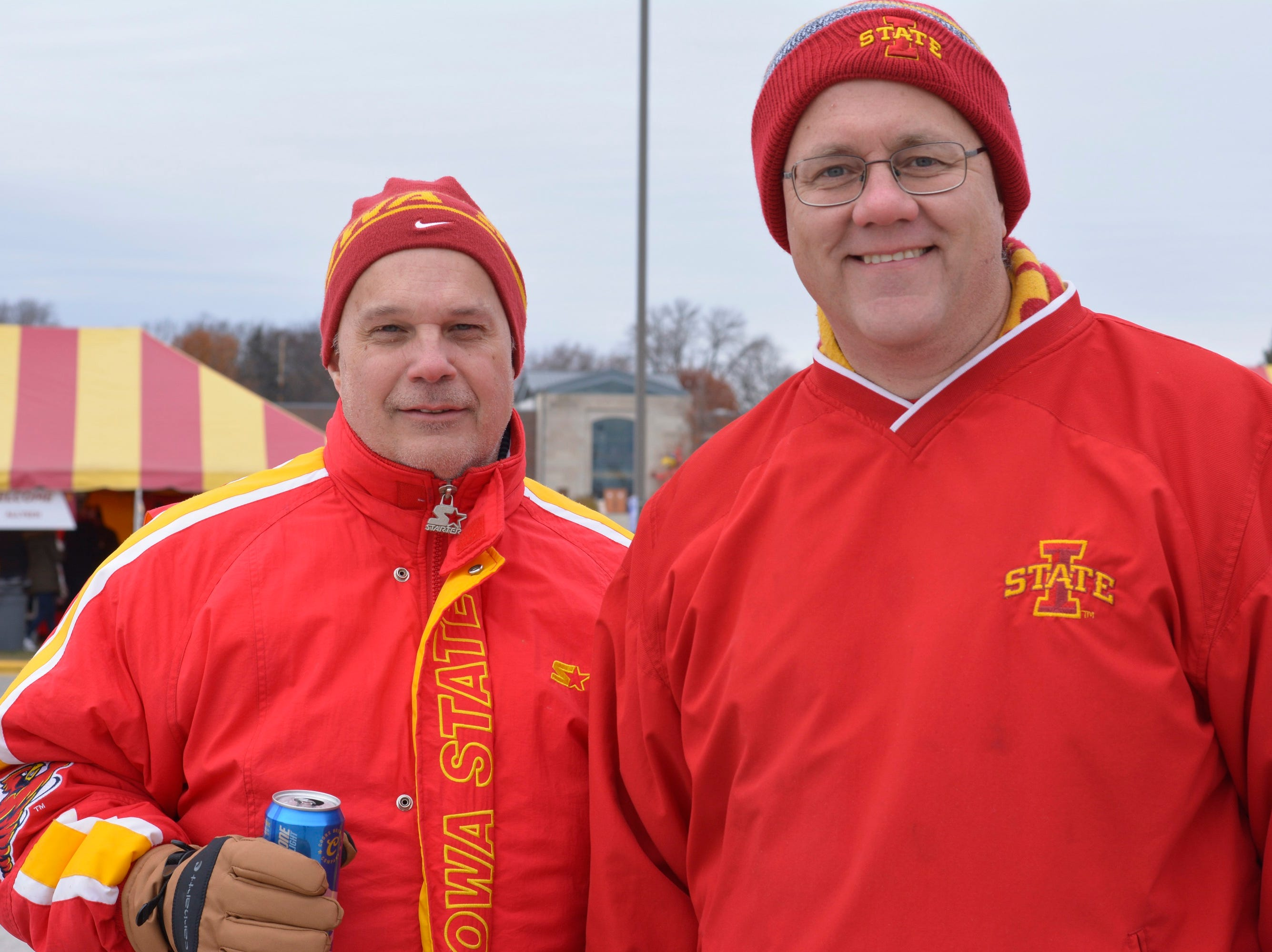 Dean Uhlenberg and Chris Brown tailgating before the Iowa State played Baylor in Ames on Nov. 10.