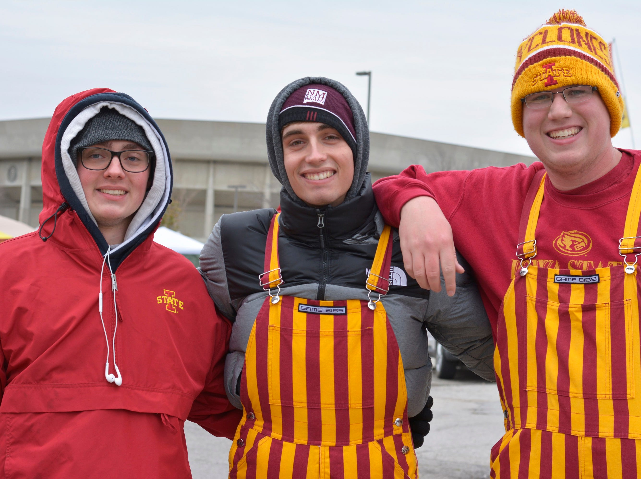 Gary Kolodzik (left), Carter Fietek (middle) and Mason Hoel (right) before the Iowa State University football game against Baylor in Ames on Nov. 10.