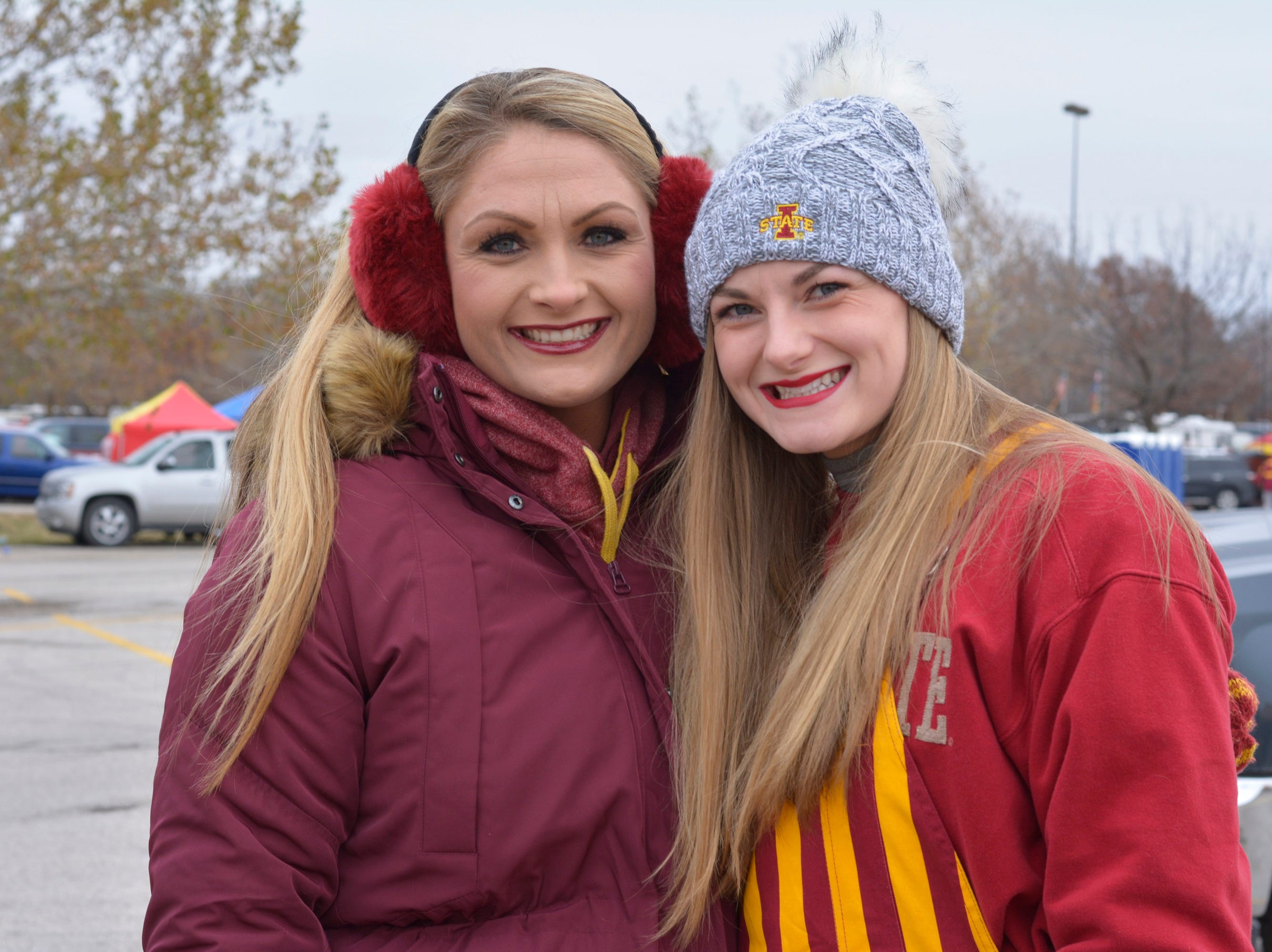 Kim Condon (left) and Kourtney Condon before the Iowa State University football game against Baylor in Ames on Nov. 10.