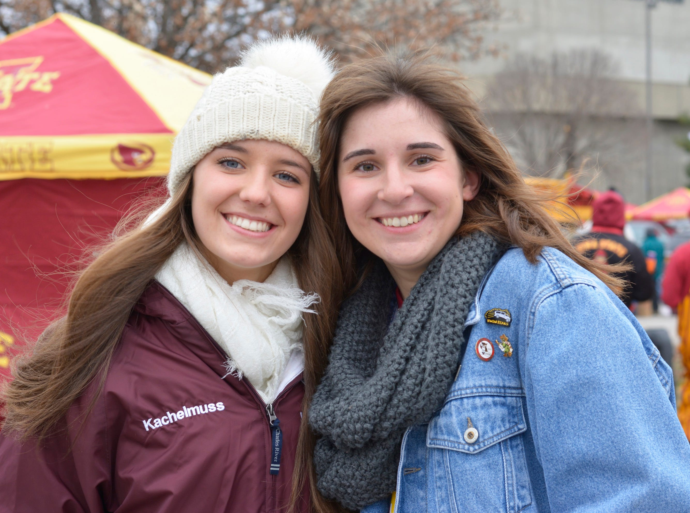 Maddy Kachelmuss (left) and Natalie Dombrowski (right) before the Iowa State University football game against Baylor in Ames on Nov. 10.