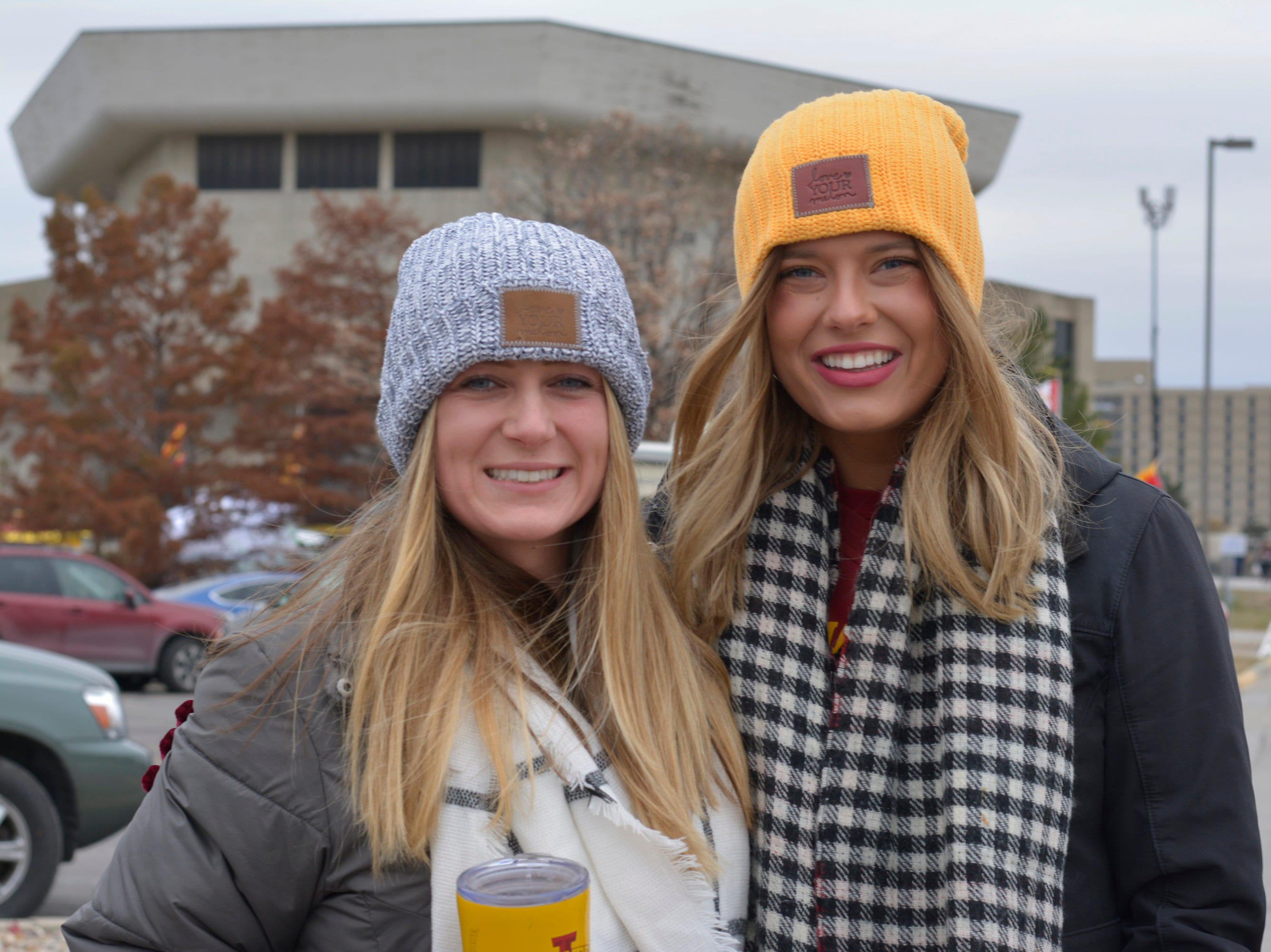 Valerie Feld (left) and Madelyn Jung (right) before the Iowa State University football game against Baylor in Ames on Nov. 10.