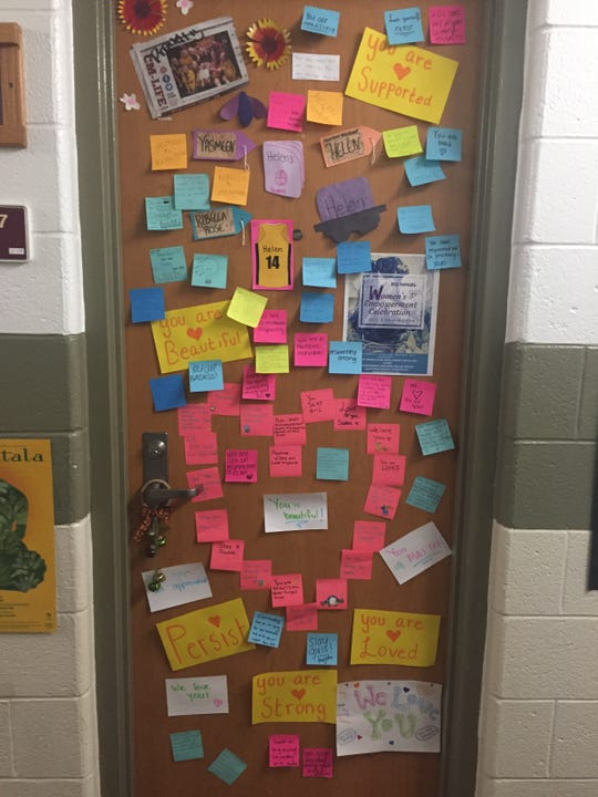 Messages of love and support have appeared outside Central Michigan University student Yasmeen Duncan's door, after a hateful message appeared on the door on Wednesday, Nov. 7, 2018.
