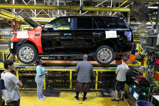 The 2018 Ford Expedition SUV goes through the assembly line at the Ford Kentucky Truck Plant in October 2017 in Louisville, Kentucky.